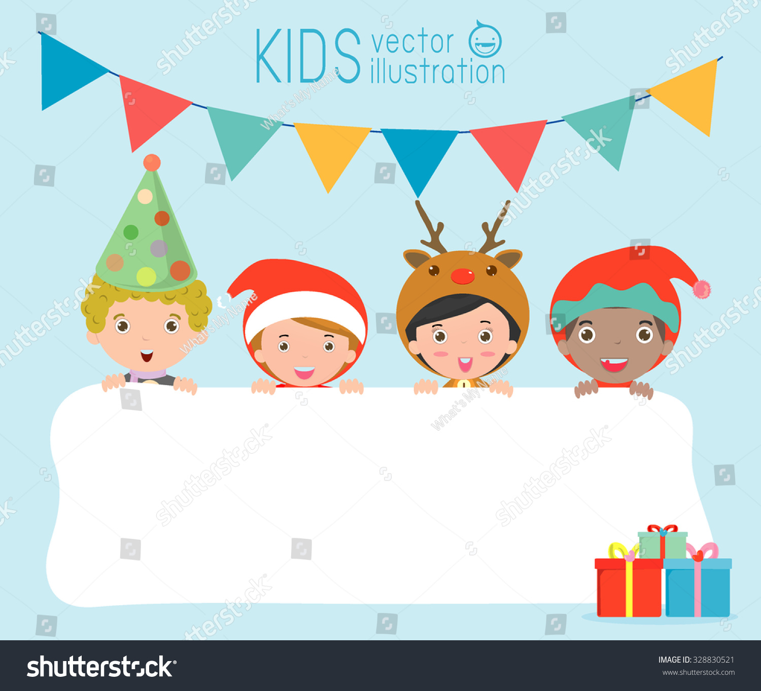 Children Greeting Christmas New Year Card Stock Vector Royalty Free