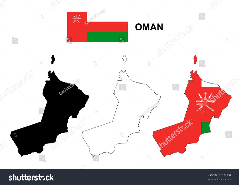 Oman Map Vector Oman Flag Vector Stock Vector Shutterstock - Oman map