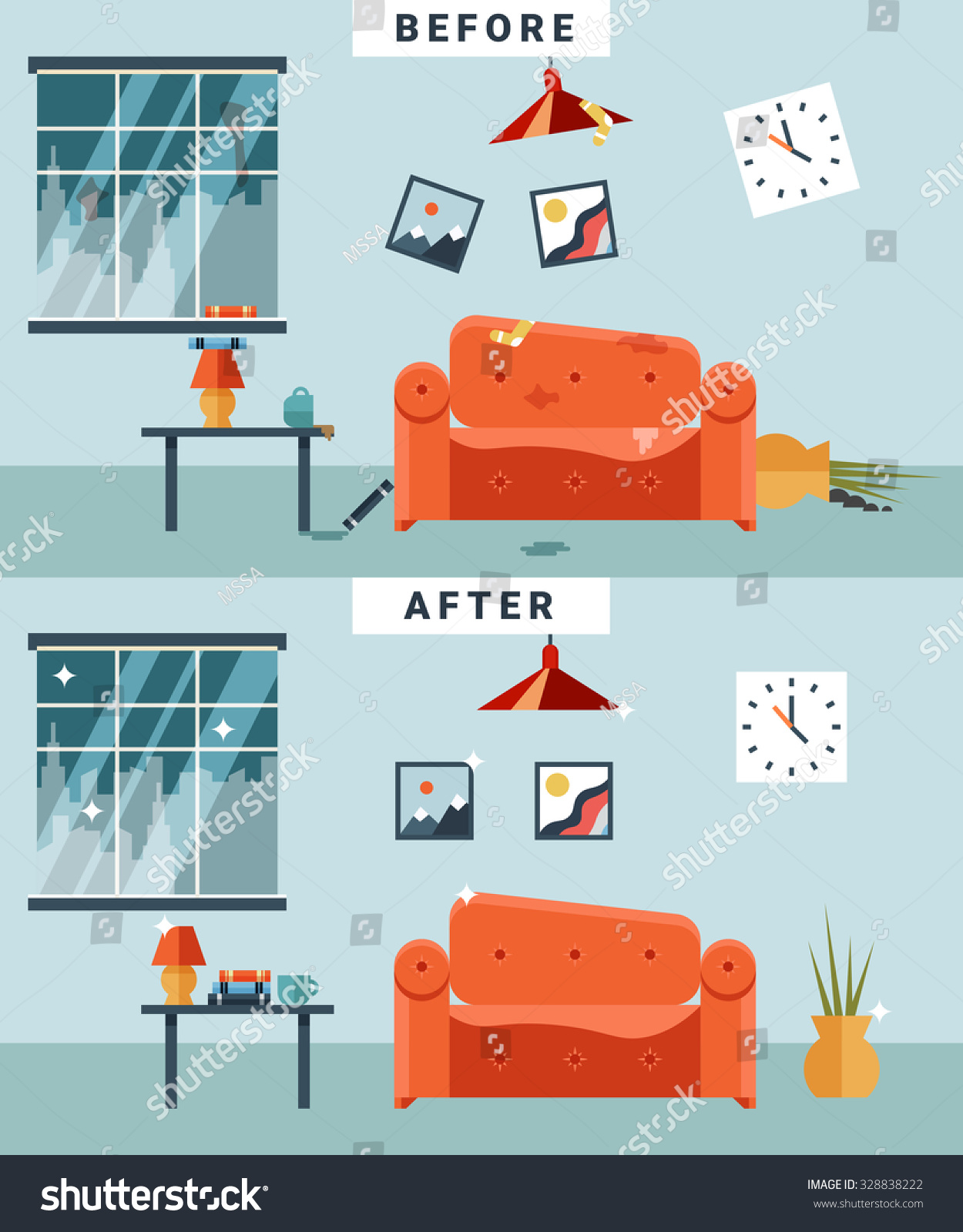 Dirty Clean Room Before After Cleaning Stock Vector