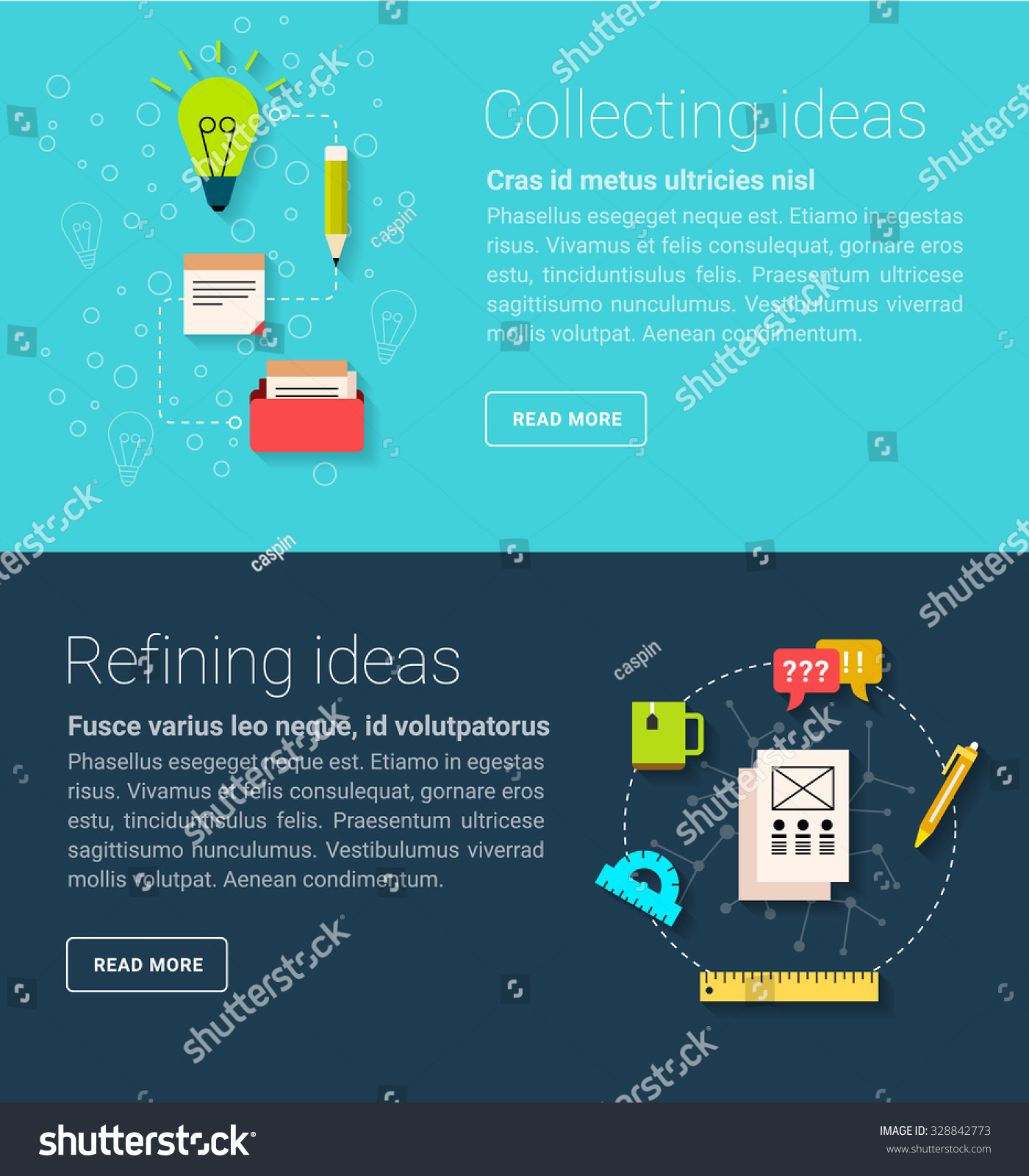 Concept Generating Gathering Ideas Banners Text Stock Vector (2018 ...