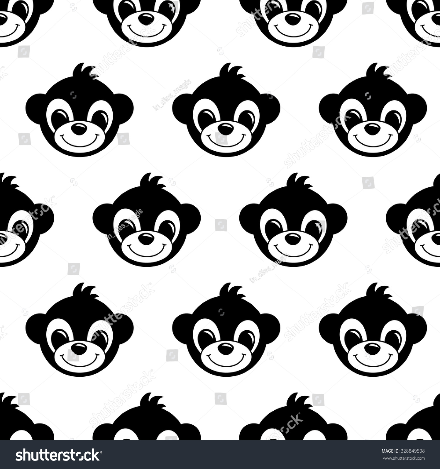 Seamless Pattern Background Monkeys Symbol 2016 Stock Vector