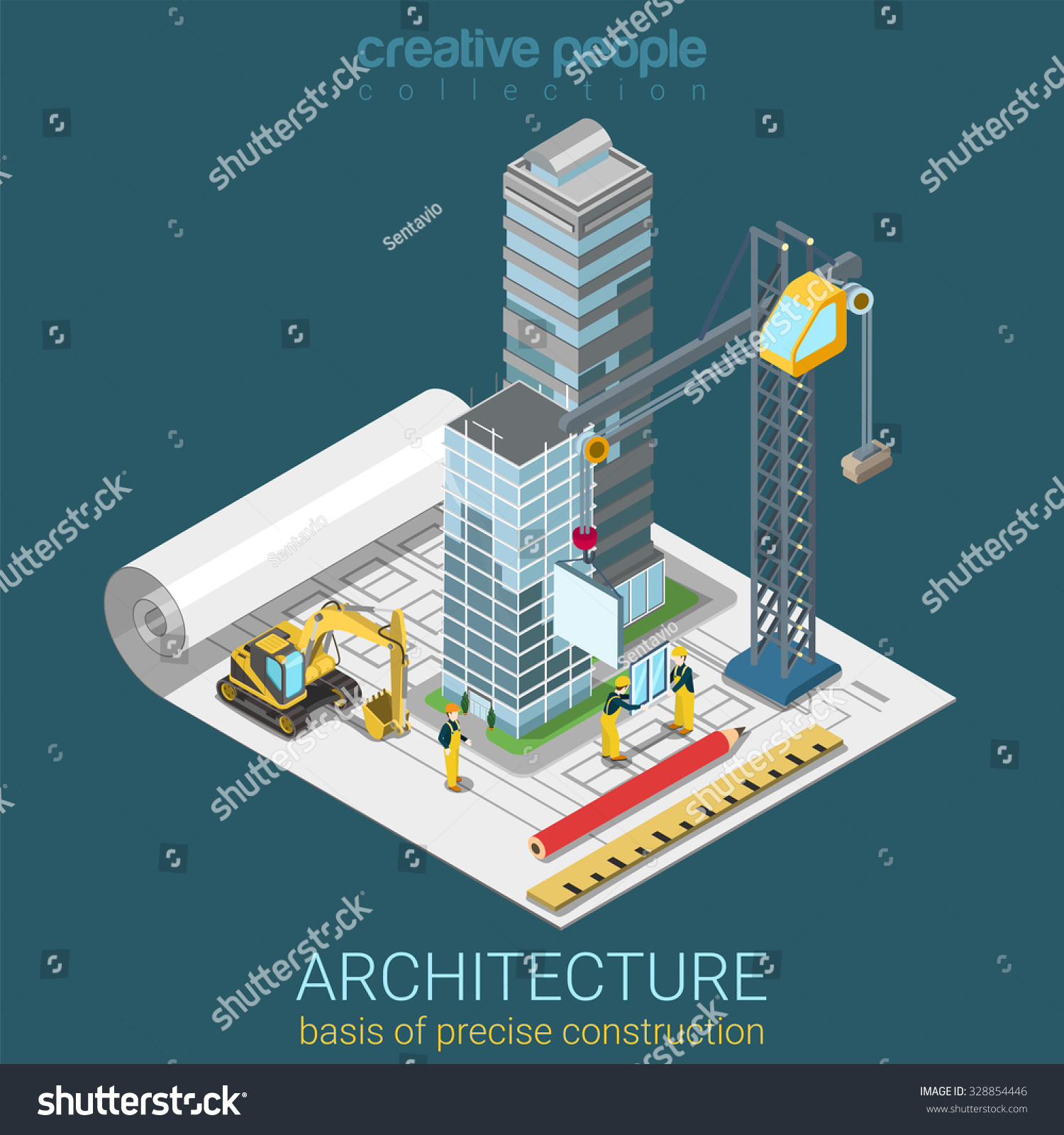 3d Floor Plan Isometric: Architectural Plan Flat 3d Isometric Concept Stock Vector