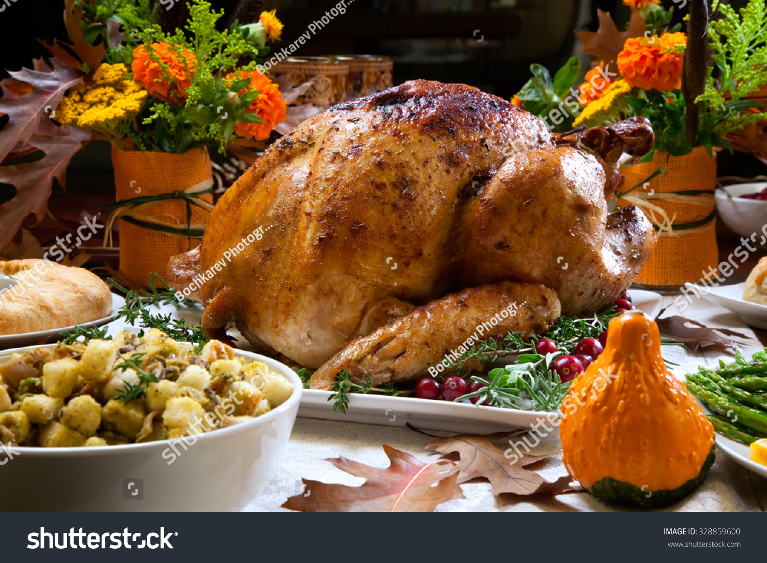 Roasted Turkey Garnished Cranberries On Rustic Stock Photo ...
