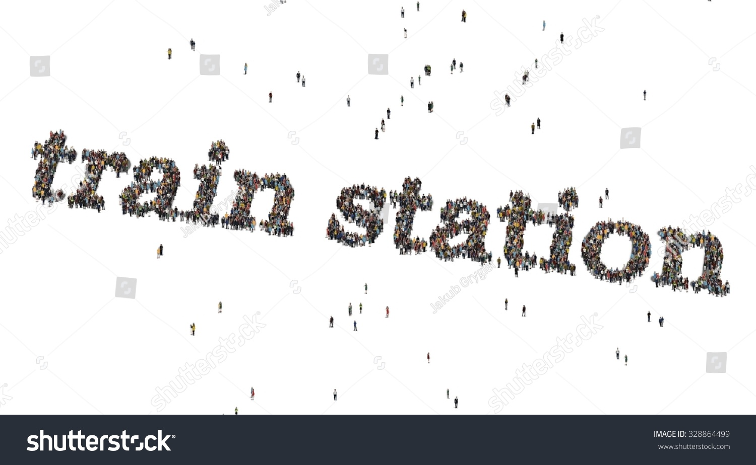 Train Station Words Crowd Above Stock Illustration 328864499