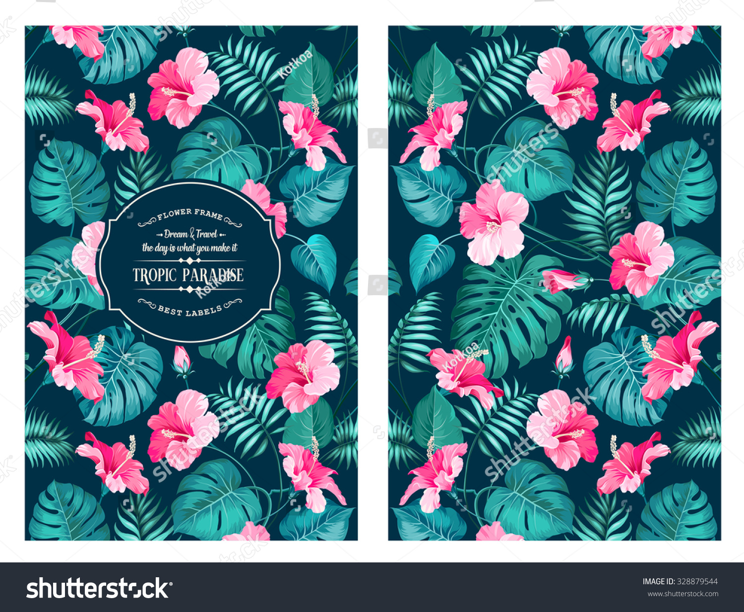 Book Cover Design Nature : Tropical flower pattern on book cover stock vector