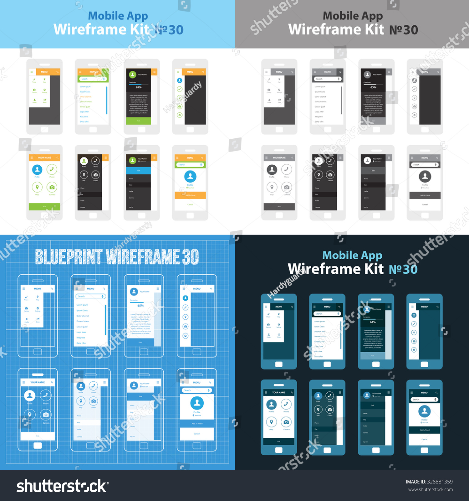 Mobile WIreframe App UI Kit 30 … Stock Photo 328881359 - Avopix com