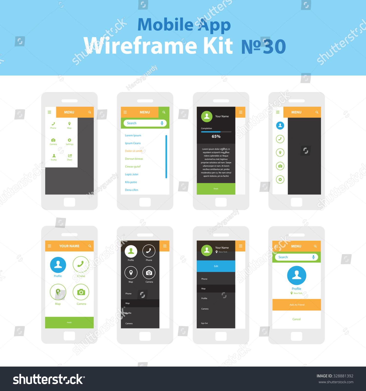 Image Info App Stock Vector Mobile Wireframe App Ui Kit Dropdown