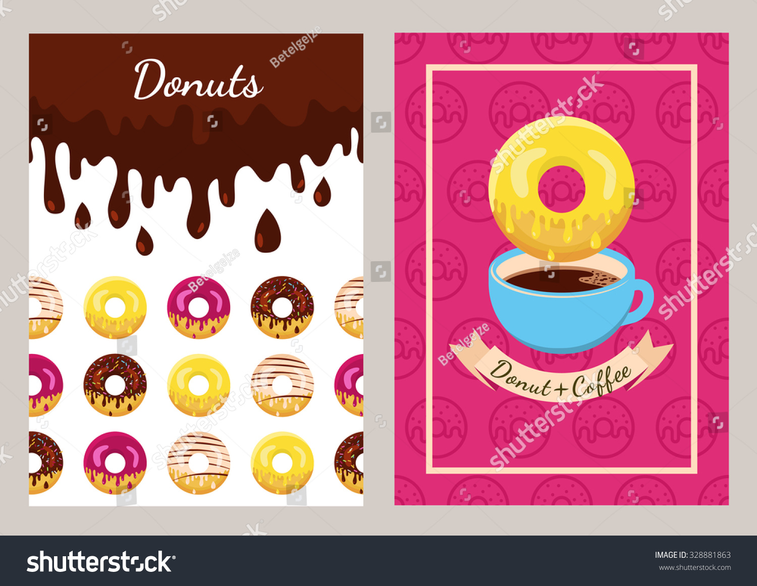 set vector design template coffee donuts stock vector  set of vector design template coffee and donuts pattern seamless fast food background