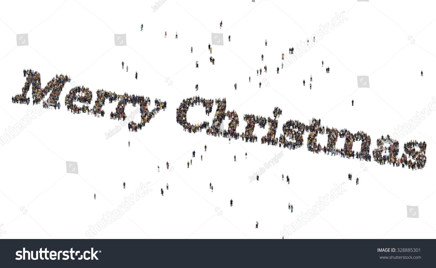 merry christmas words crowd from above