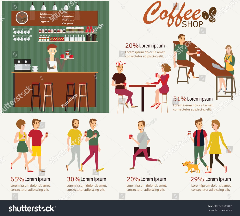 vector elements coffee shop infographic interior stock vector