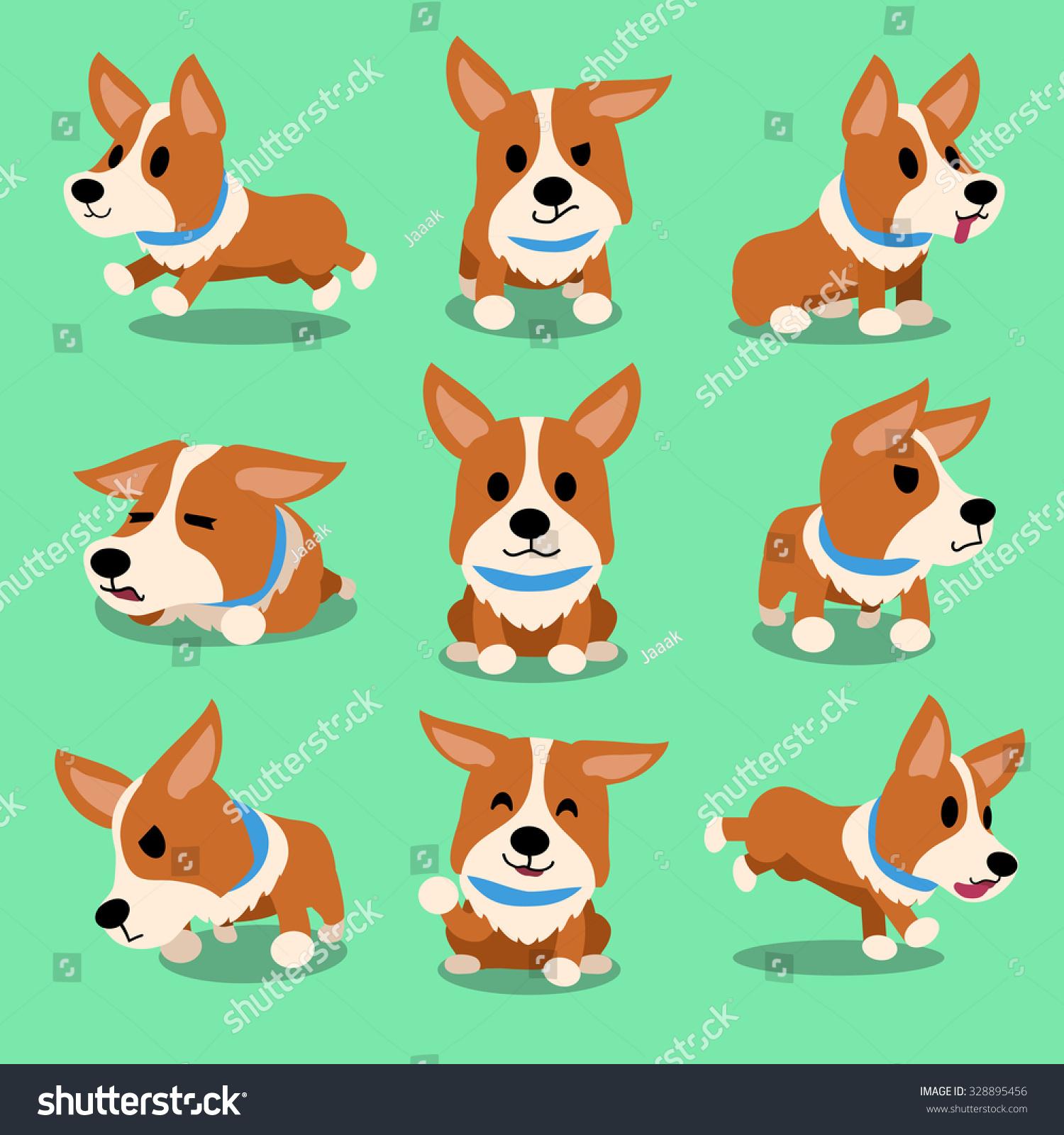 Cartoon dog stock photos images amp pictures shutterstock - Cartoon Character Corgi Dog Poses
