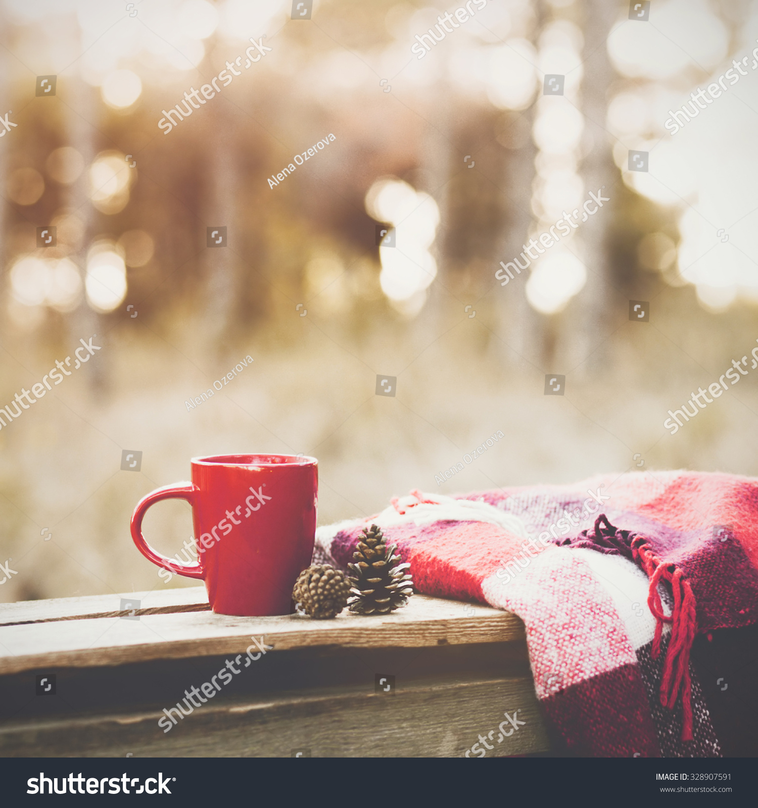cup tea warm plaid blanket on stock photo shutterstock