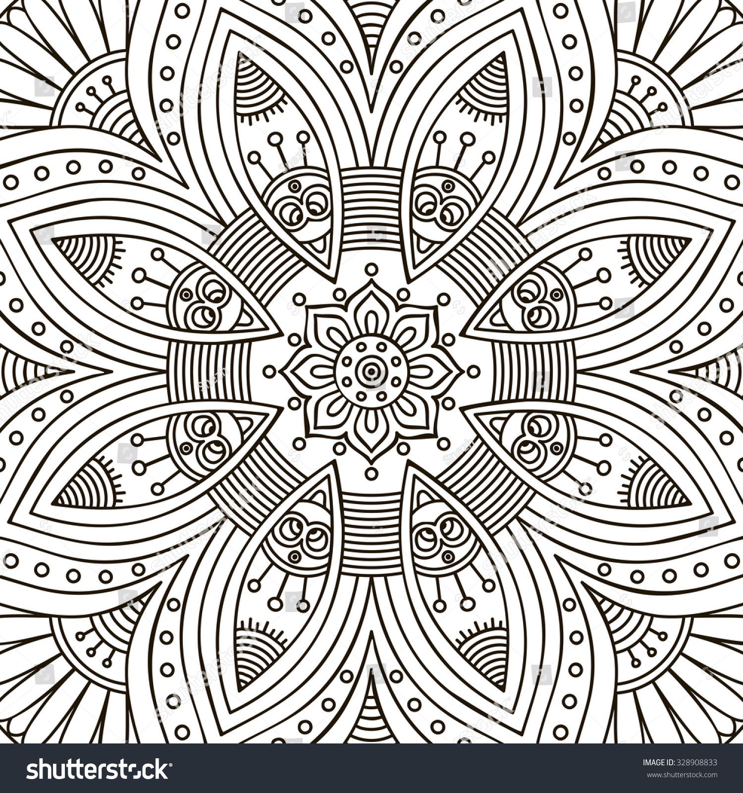 Chinese mandala coloring pages - Mandala Coloring Page Vintage Decorative Elements Oriental Pattern Vector Illustration Islam Arabic Indian Turkish Pakistan Chinese