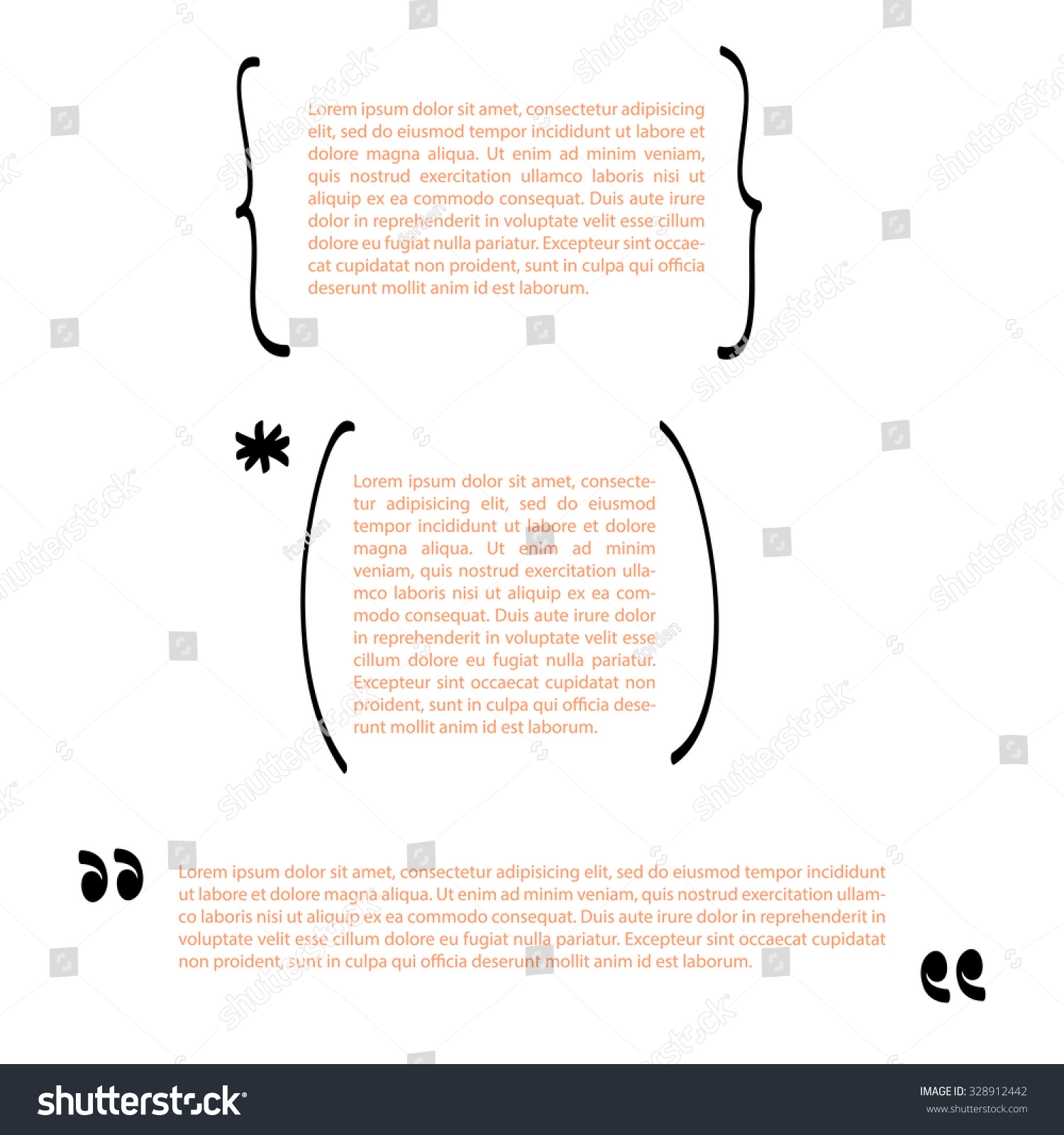 Handwritten Brackets Quotes Template Vector Set Stock Vector ...
