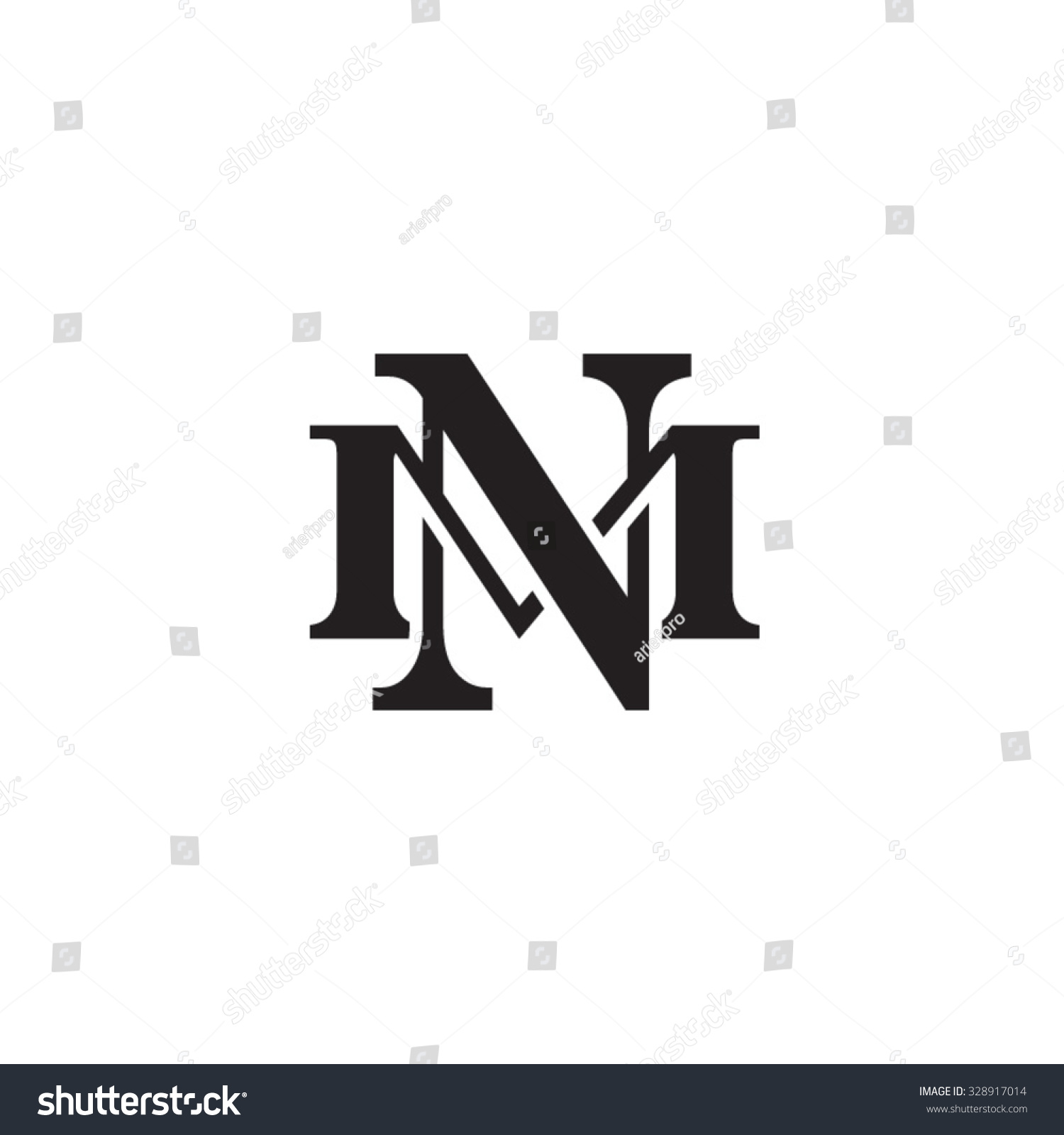 letter m n monogram logo stock vector 328917014 shutterstock. Black Bedroom Furniture Sets. Home Design Ideas