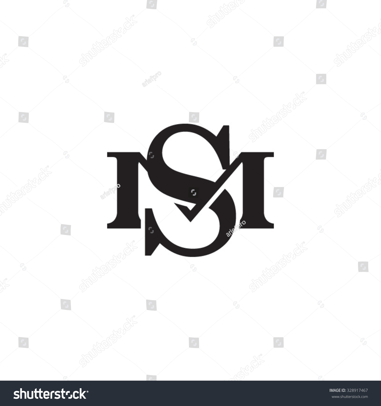 Letter M S Monogram Logo Stock Vector Royalty Free 328917467