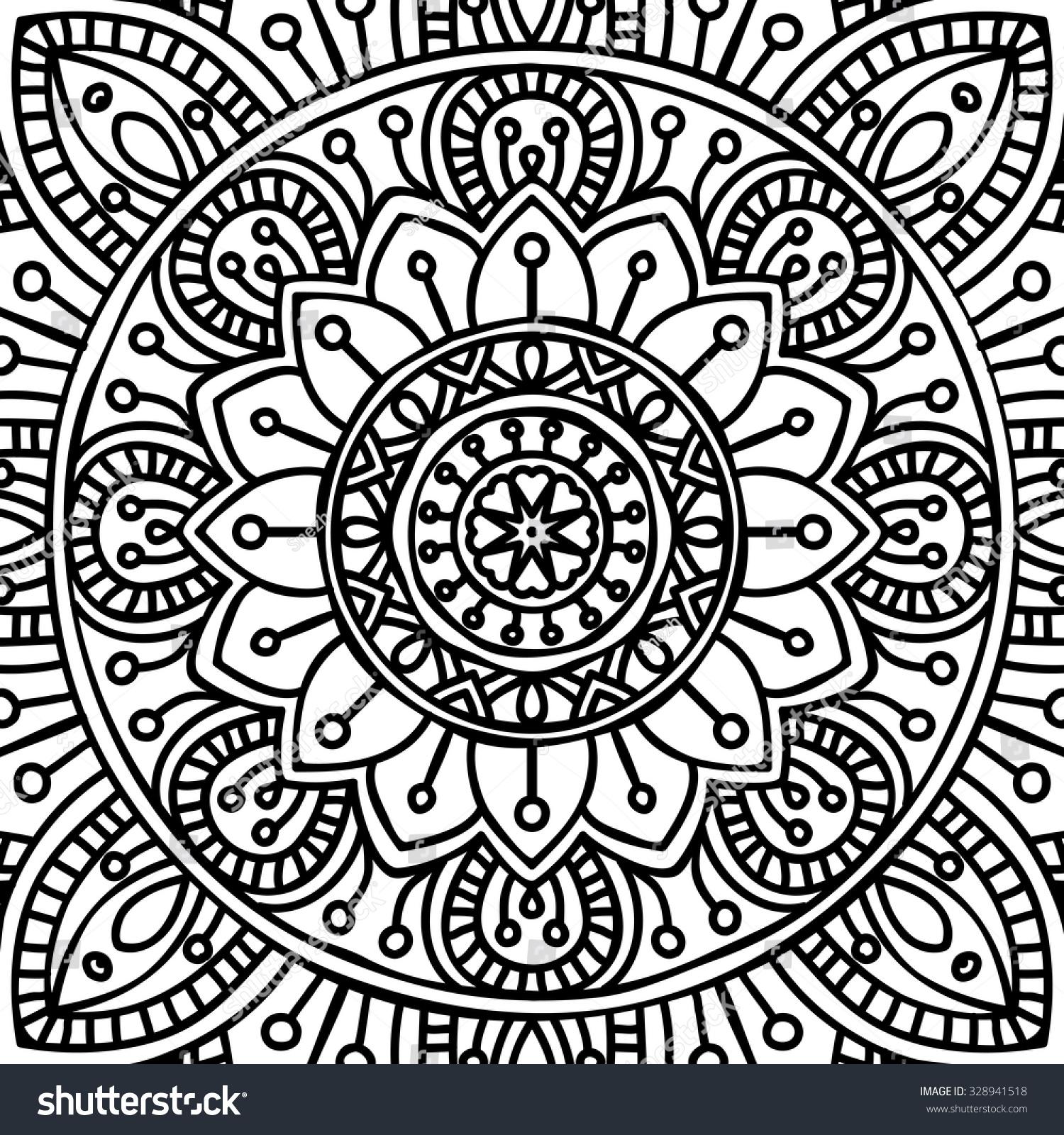 Mandala Vintage Coloring Pages Hellokids Page Decorative Elements Stock