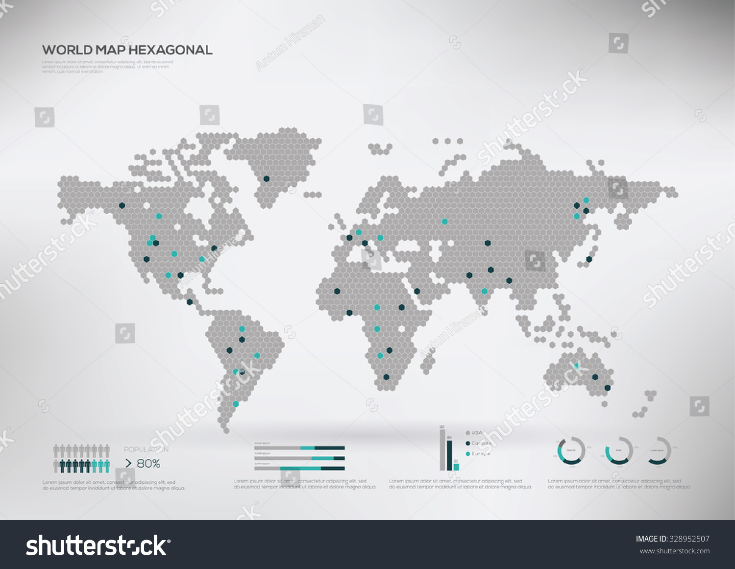 Hexagon shape world map infographic vector stock vector 328952507 hexagon shape world map infographic vector illustration gumiabroncs Gallery