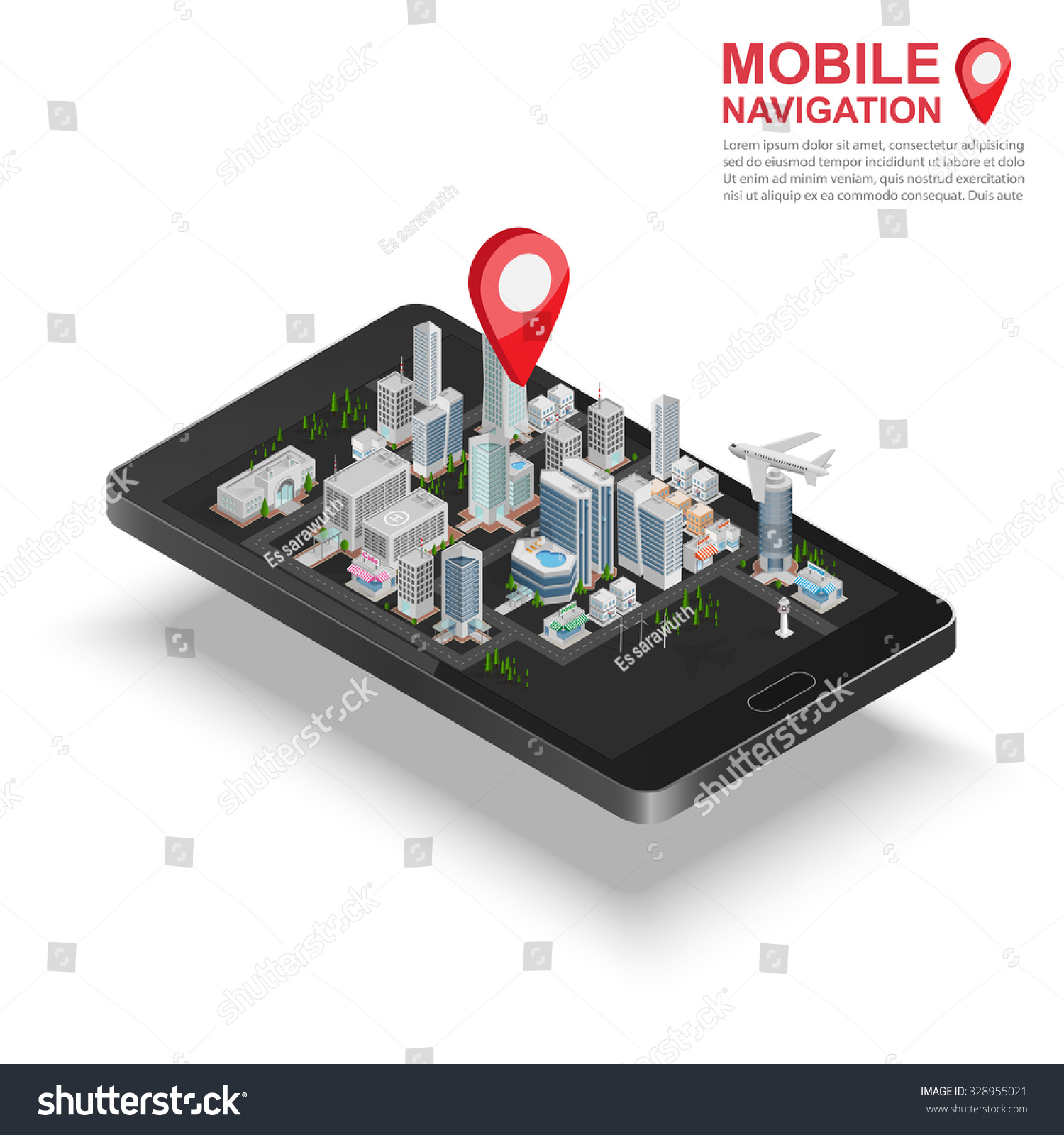3 D Isometric Mobile Gps Navigation Concept Stock Vector Royalty Circuit Diagram Notation On Electronic Symbols 3d Smartphone With City Map Application And Marker Pin Pointer