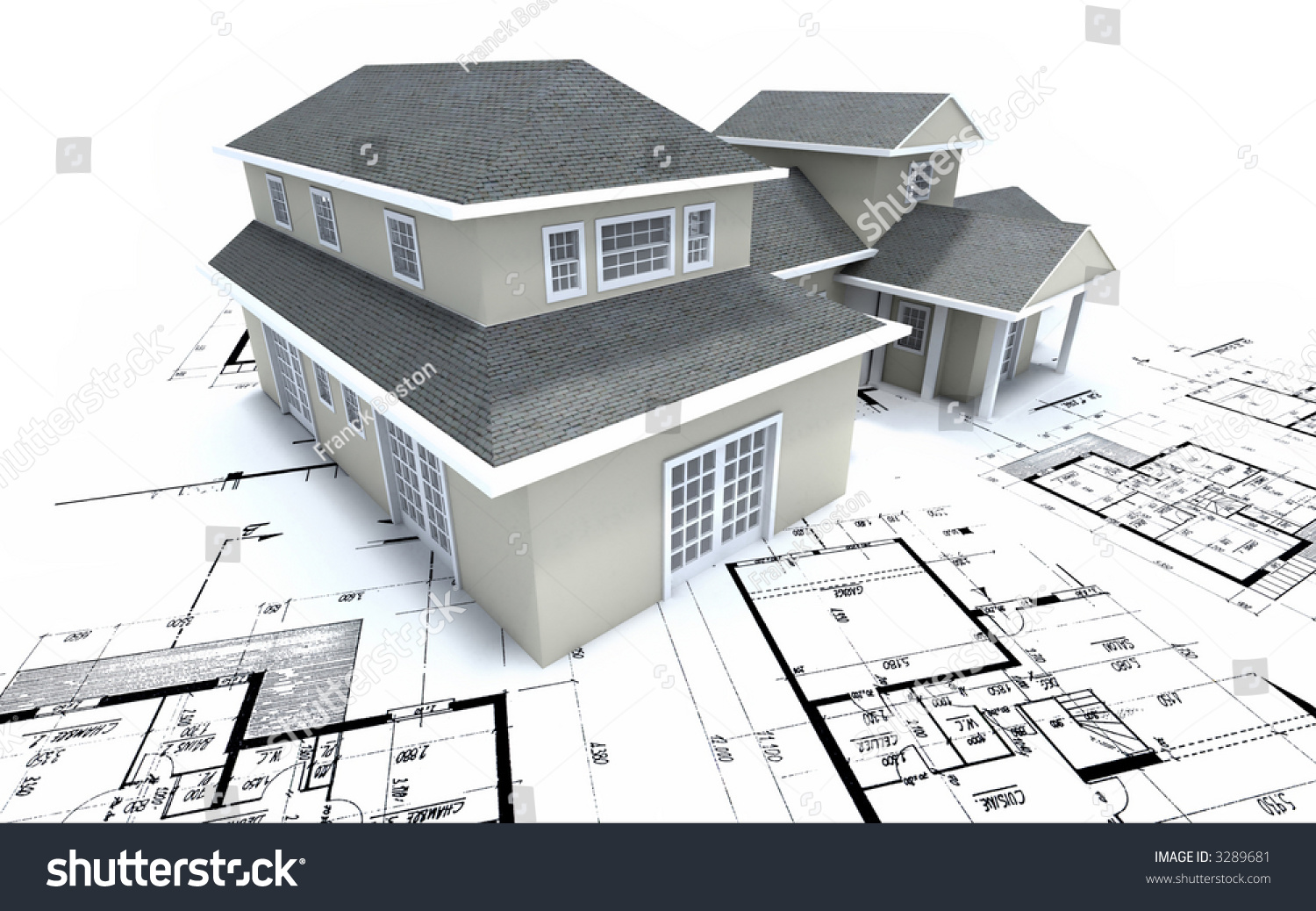 Residential House On Blueprints Stock Illustration 3289681
