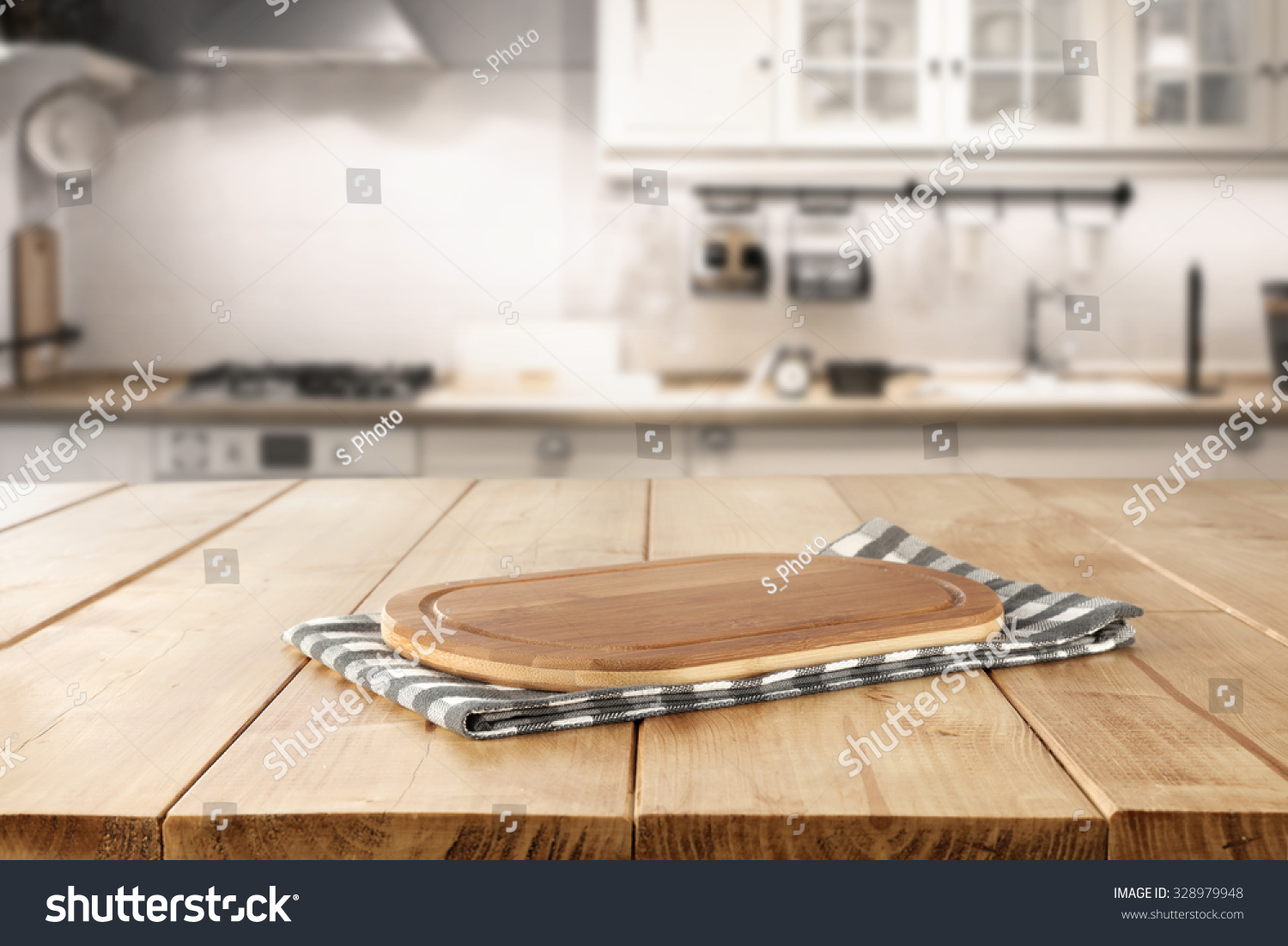 Kitchen Desk Blurred Background Retro Kitchen Kitchen Desk Stock Photo