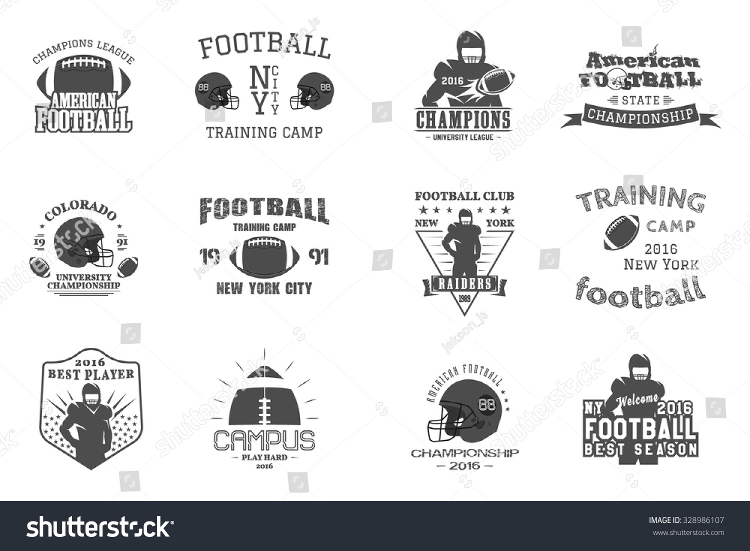 College rugby american football team campus stock vector American football style t shirts