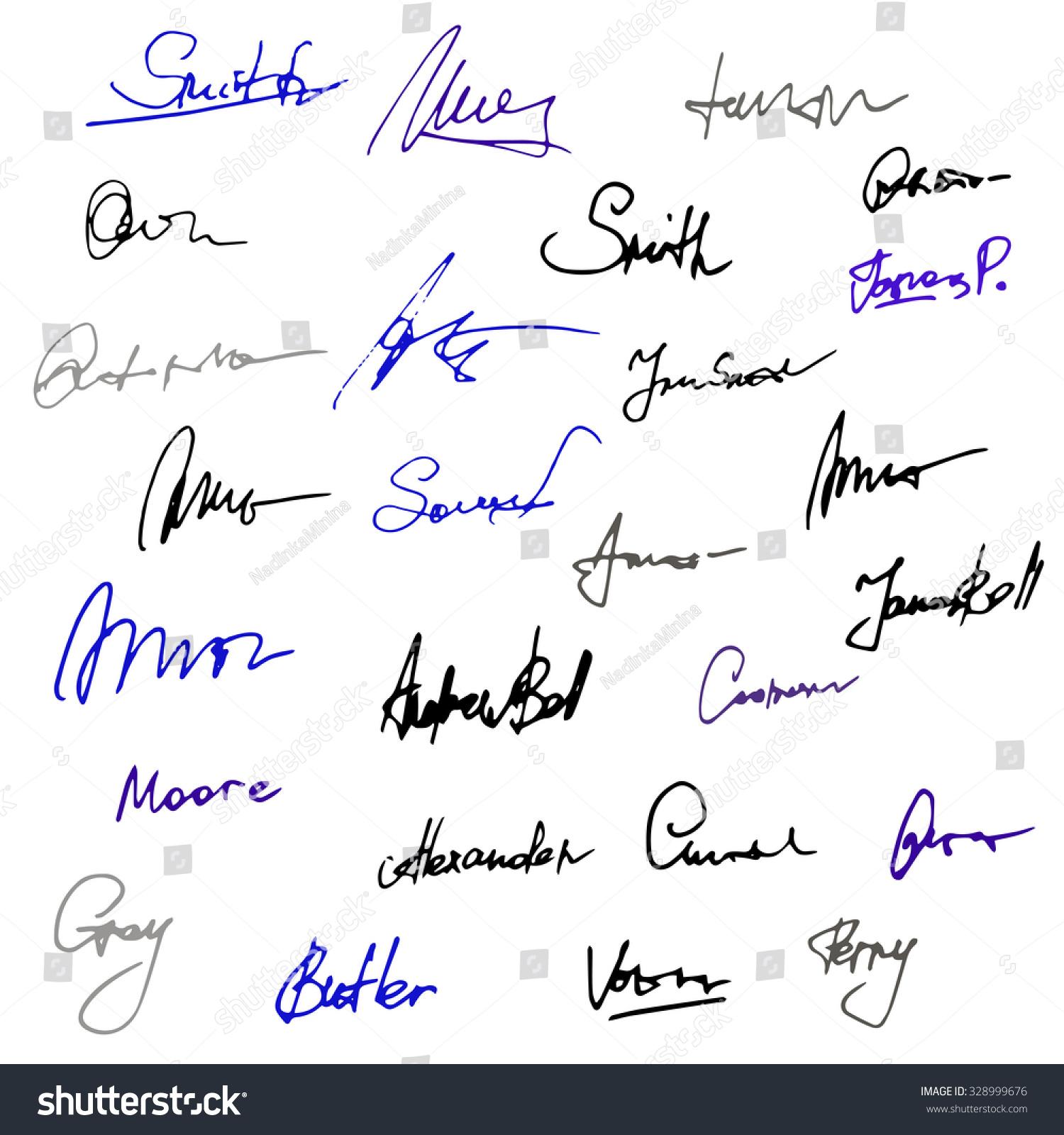 Vector Set Handwritten Signatures Hand Drawn Stock Vector