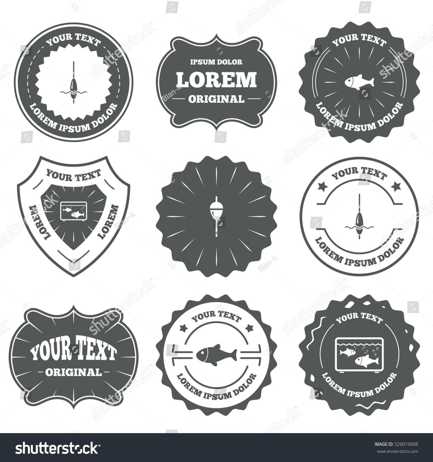 Vintage emblems, labels. Fishing icons. Fish with fishermen hook sign. Float  bobber