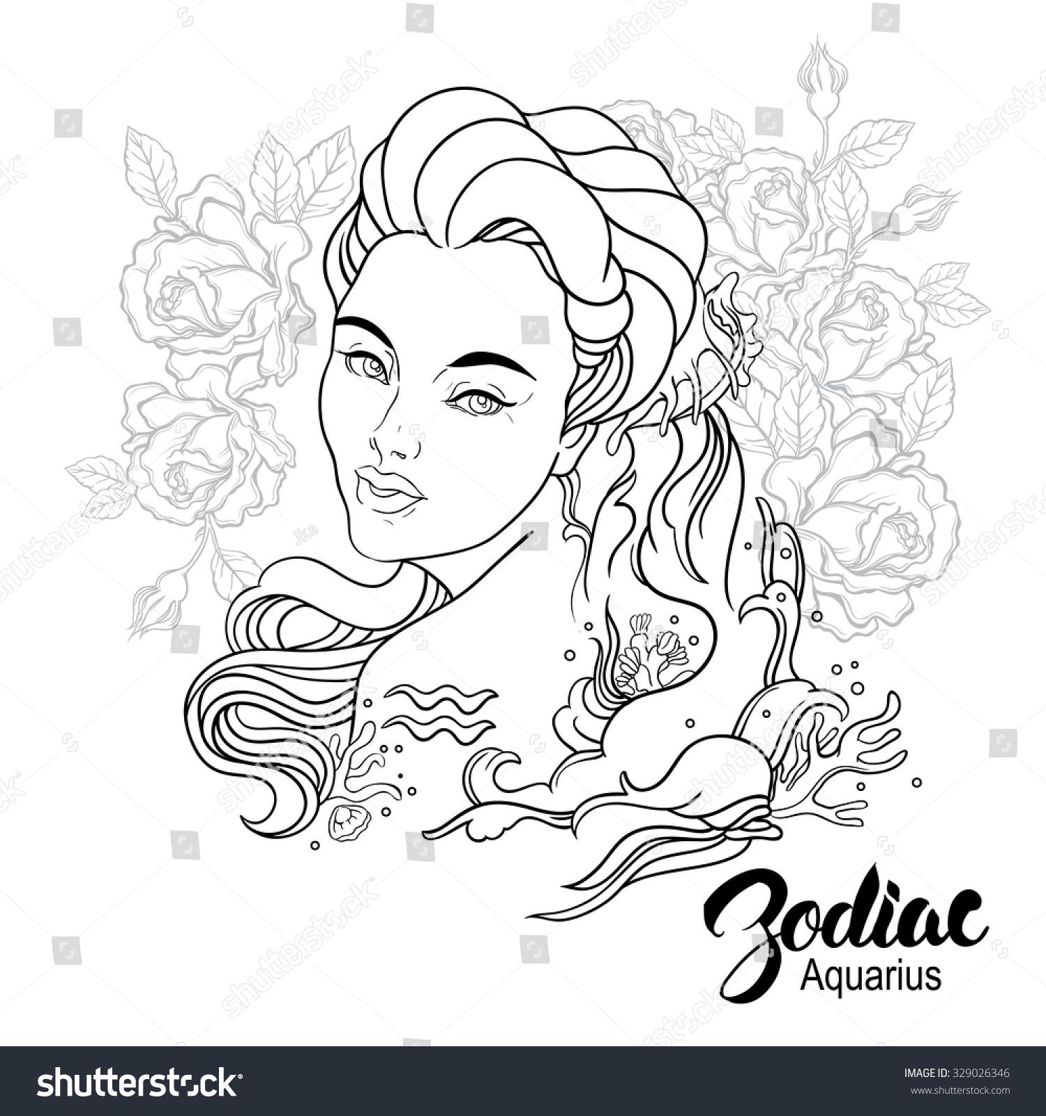 Zodiac Illustration Aquarius Girl