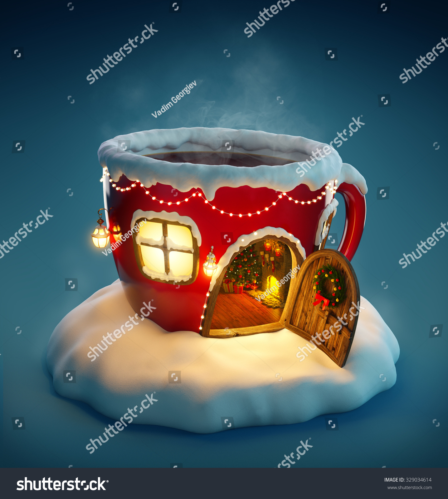 Amazing fairy house decorated at christmas in shape of tea cup with opened door and fireplace inside Unusual christmas illustration