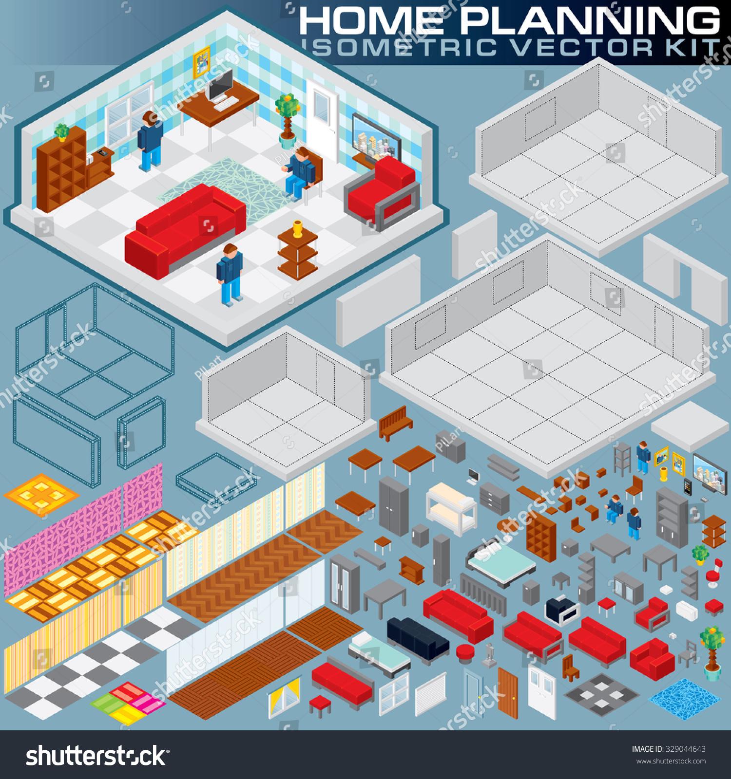 3d Floor Plan Isometric: Isometric Home Plan 3d Vector Creation Stock Vector