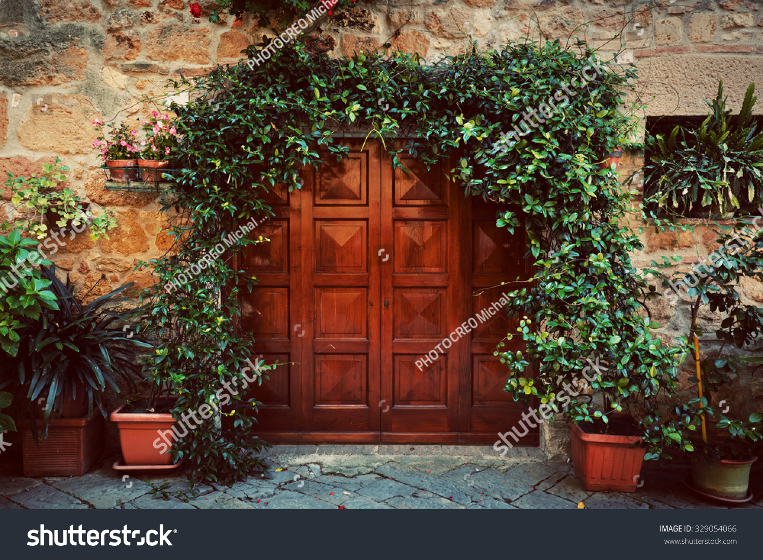Outstanding Retro Wooden Door Outside Old Italian Stock Photo 329054066 Largest Home Design Picture Inspirations Pitcheantrous