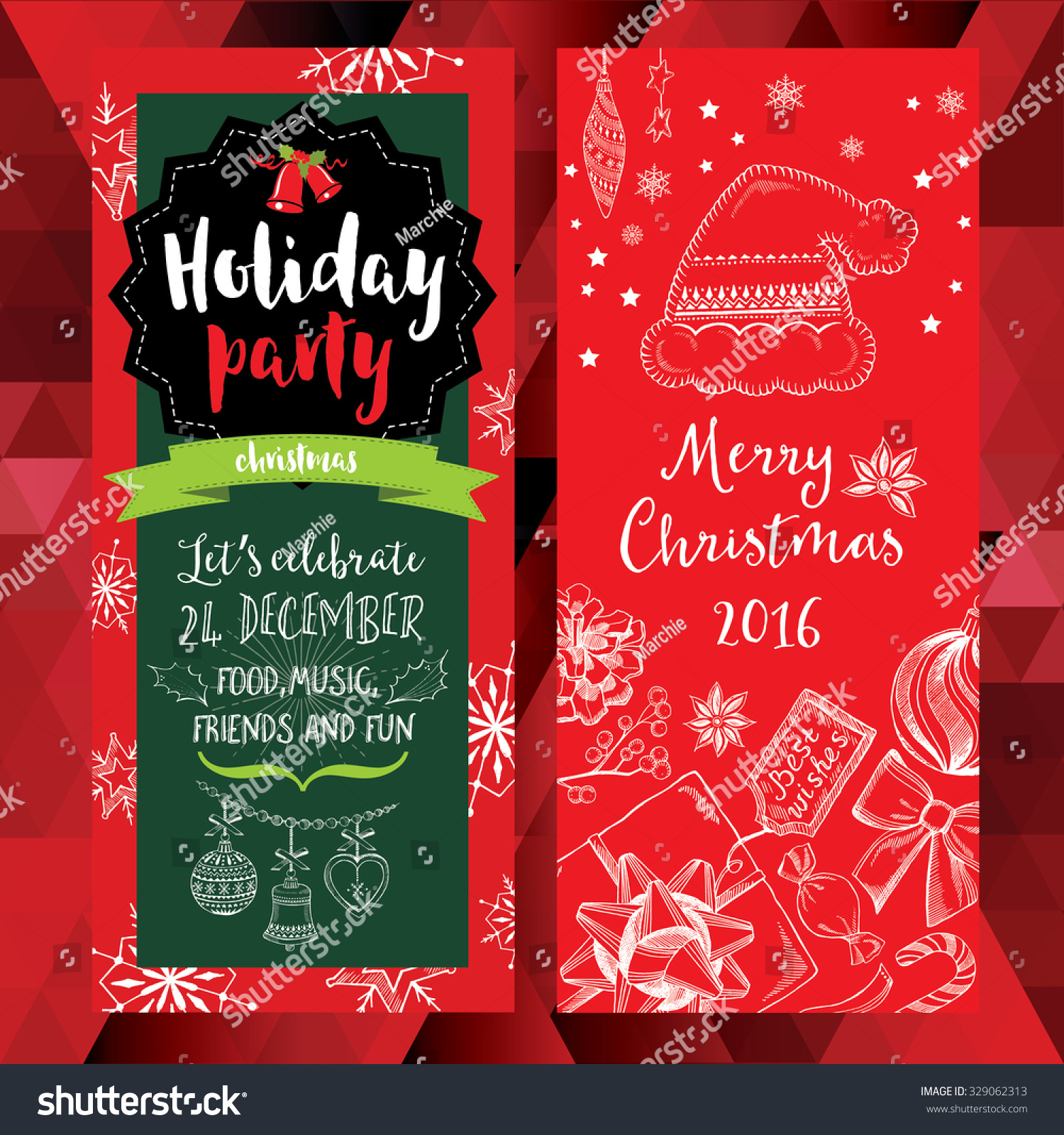 vector christmas party invitation toys holiday background save to a lightbox