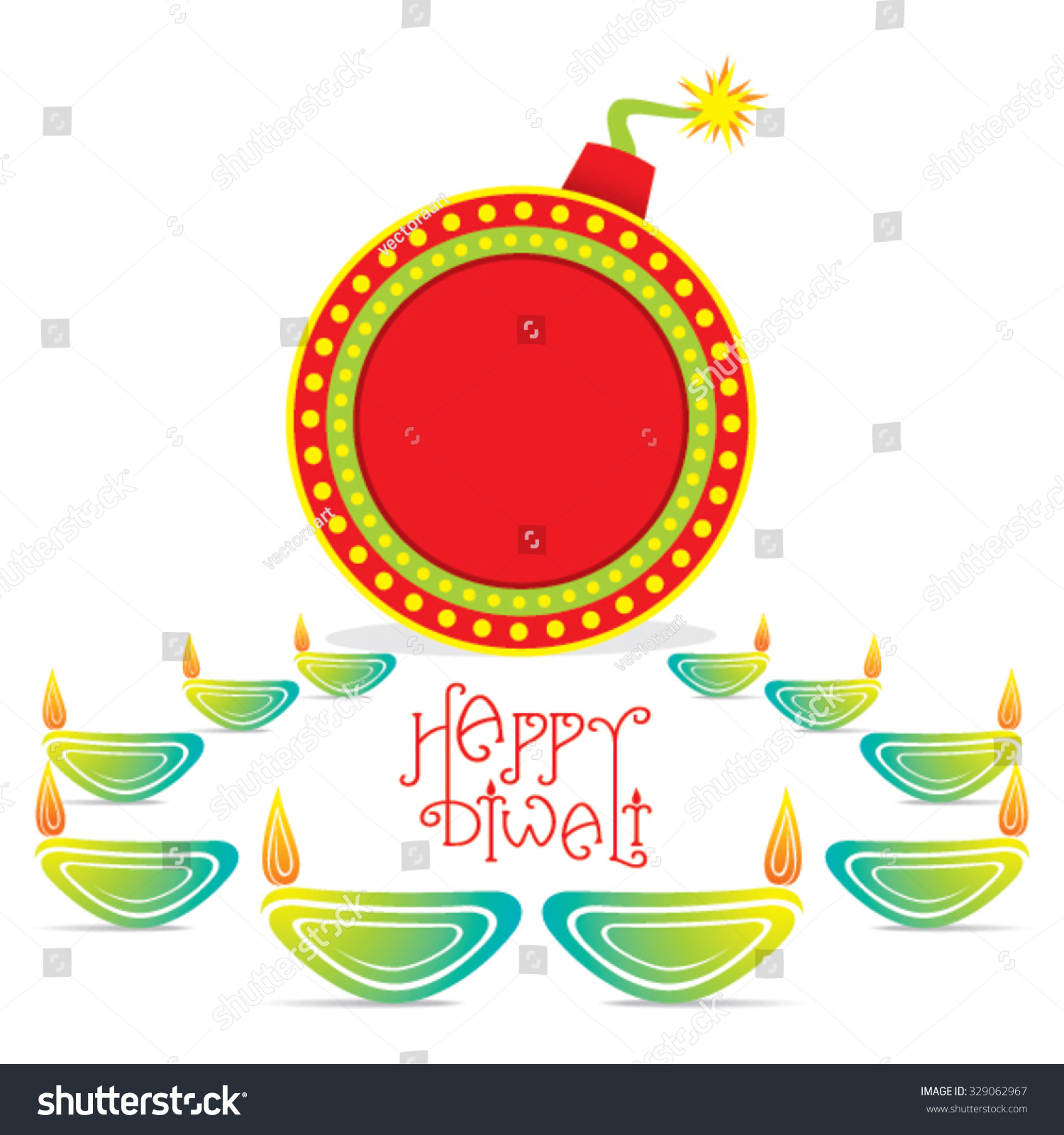 Creative Happy Diwali Greeting Card Design Stock Vector Royalty