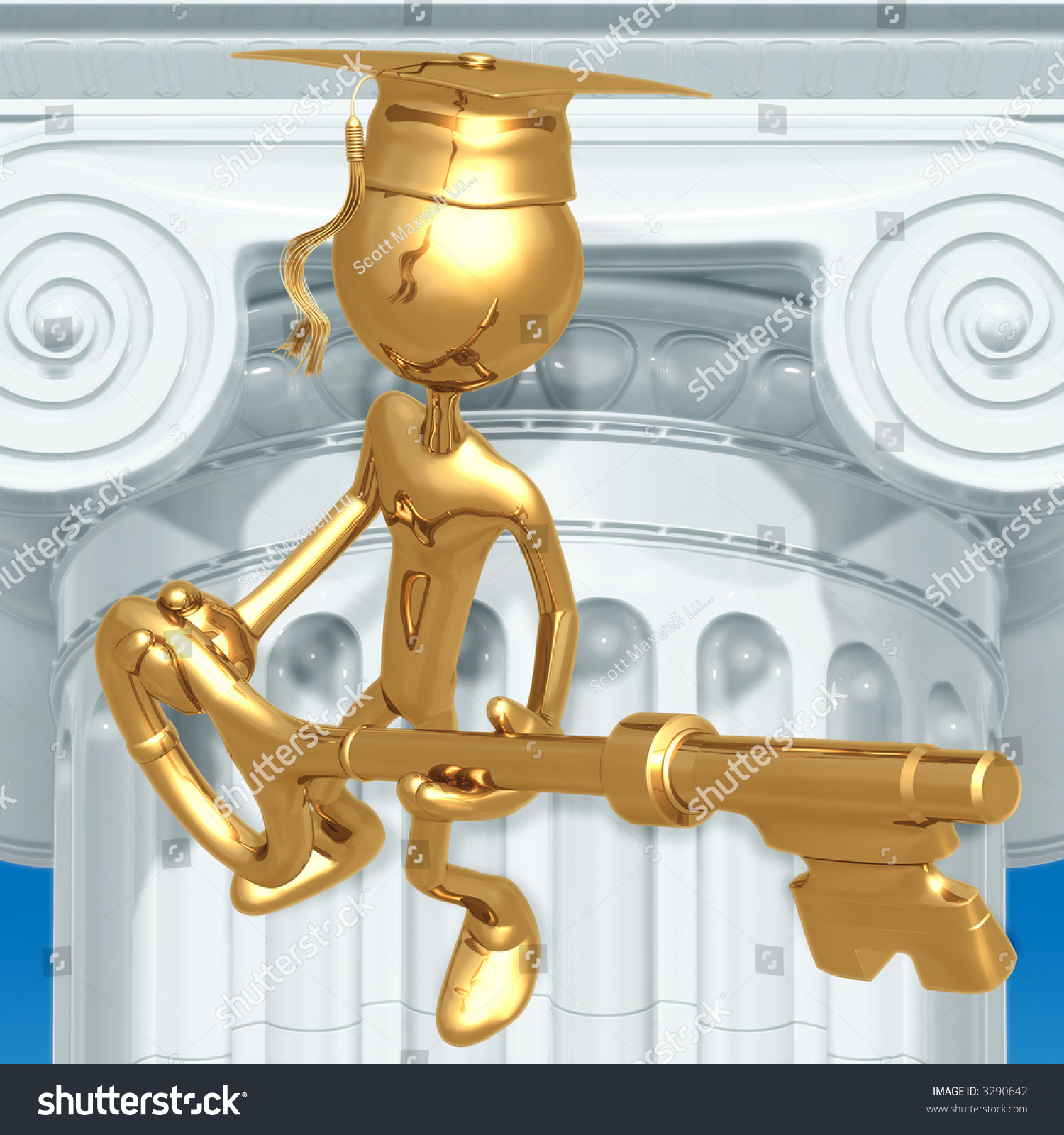 golden grad holding a key graduation concept stock photo 3290642 shutterstock. Black Bedroom Furniture Sets. Home Design Ideas