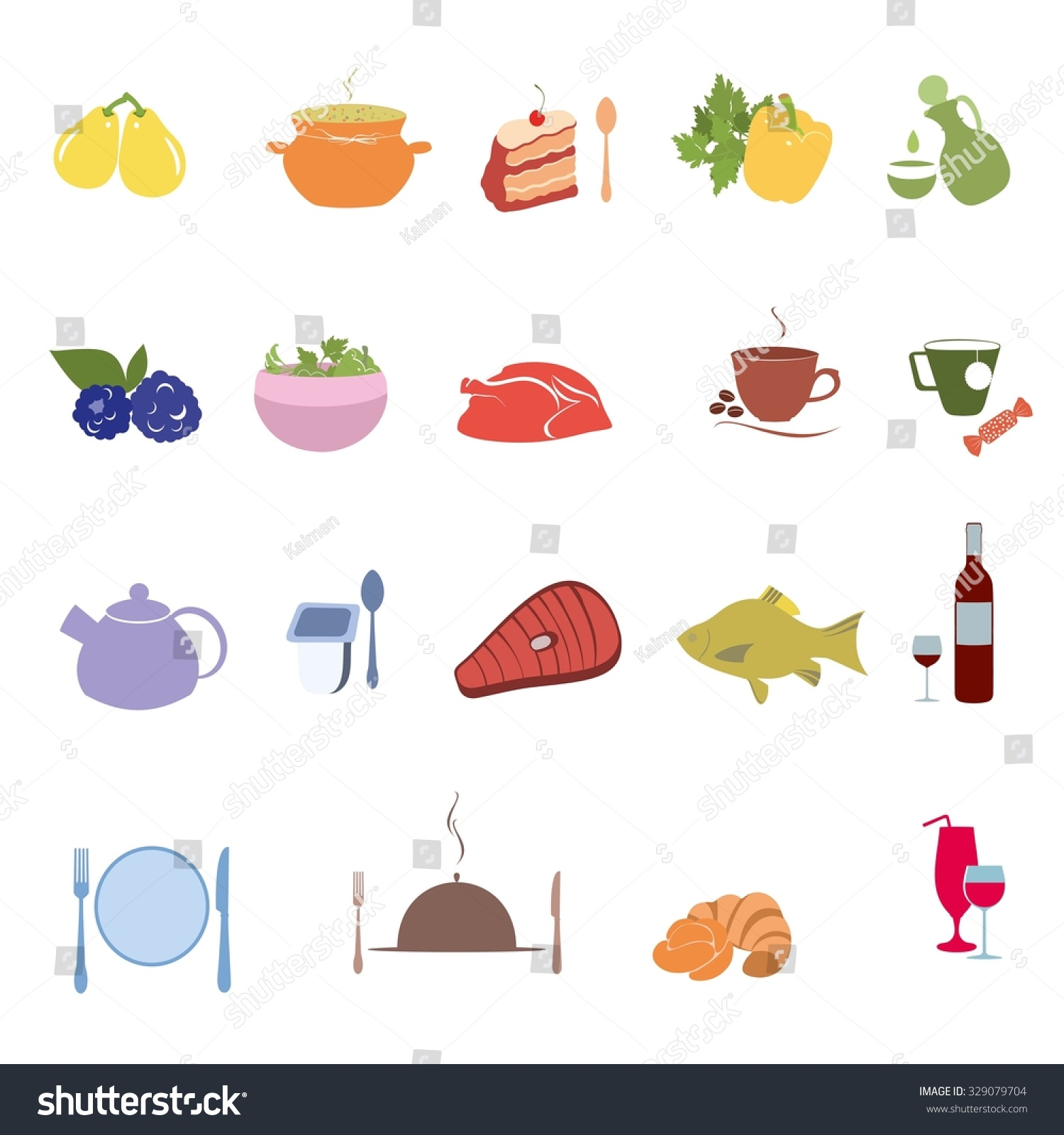 For restaurant pictures graphics illustrations clipart photos - Vector Illustration Of Kitchen Cooking Restaurant And Food Icons Set Template Elements For