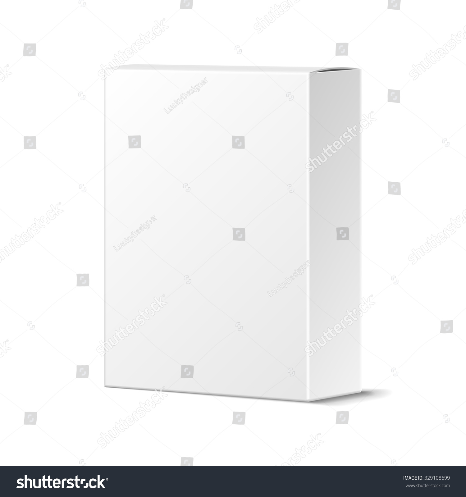 Logo Mockup White Paper In Shadow: Realistic Blank White Product Package Box Stock Vector
