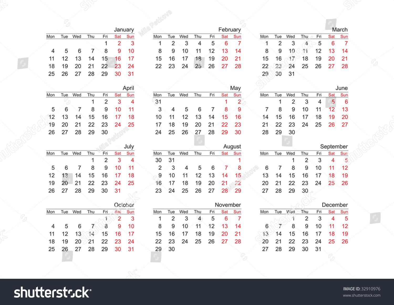 Calendar Year Names : Simple vector calendar for year english names