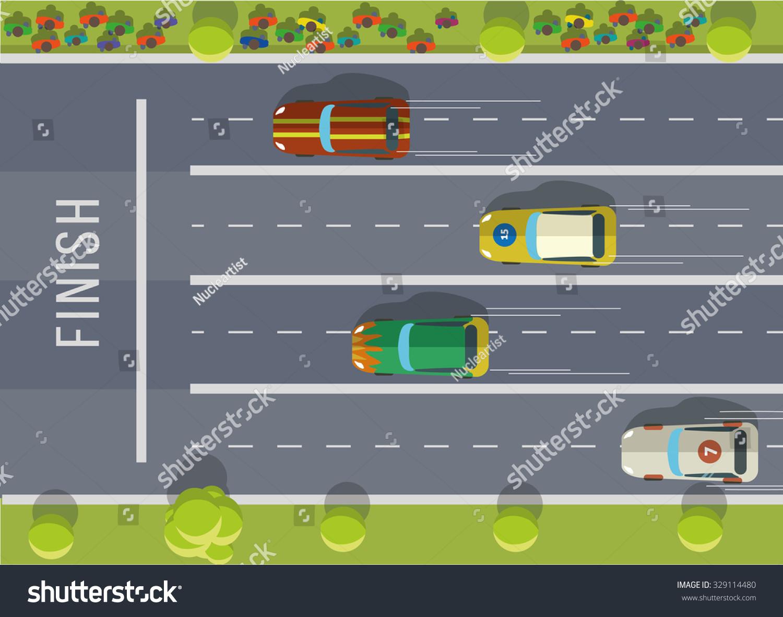 Racing cars top view Flat vector illustration