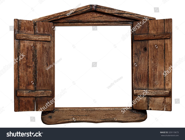 Old Grunge Wooden Window Frame Shutters Stock