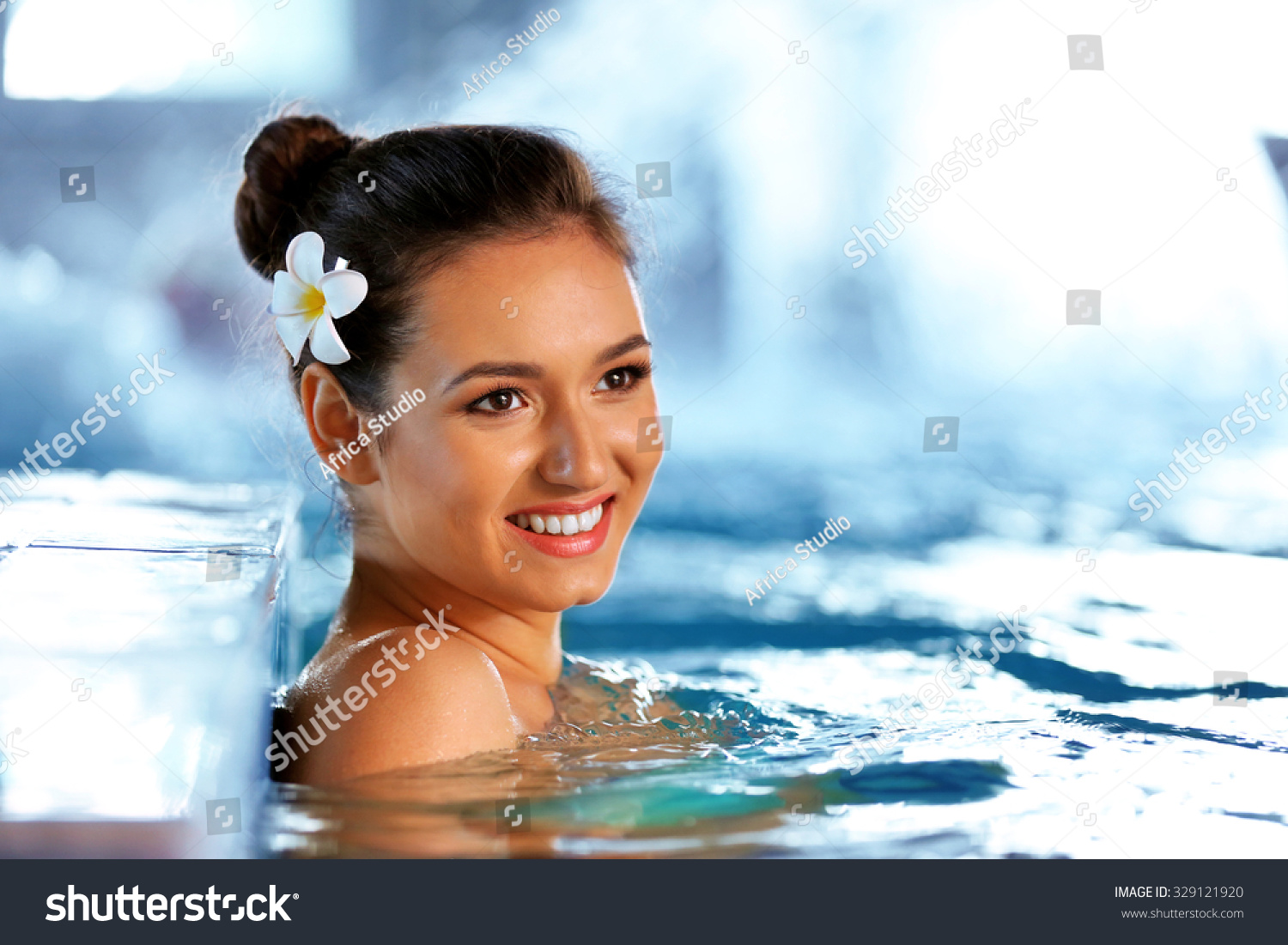 Beautiful young woman swimming pool stock photo 329121920 shutterstock for Female only swimming pool london