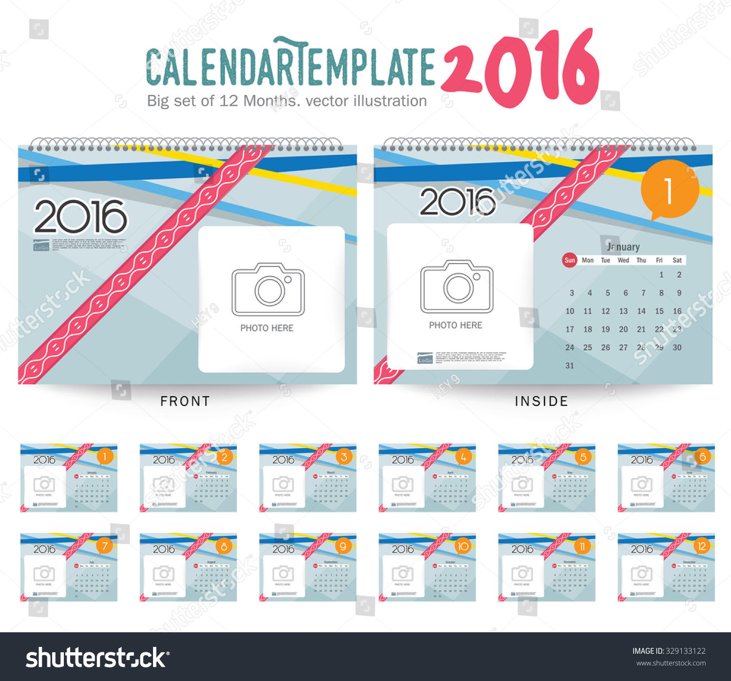 Weekly Calendar Vector : Desk calendar vector design template stock