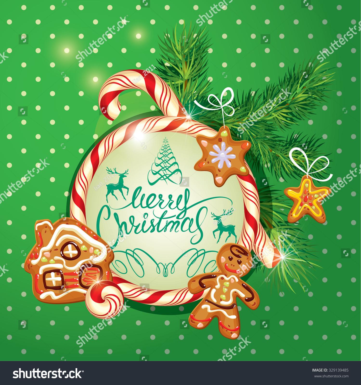 New year holiday greeting card xmas stock vector 329139485 new year holiday greeting card with xmas gingerbread man stars and house cartoons kristyandbryce Gallery