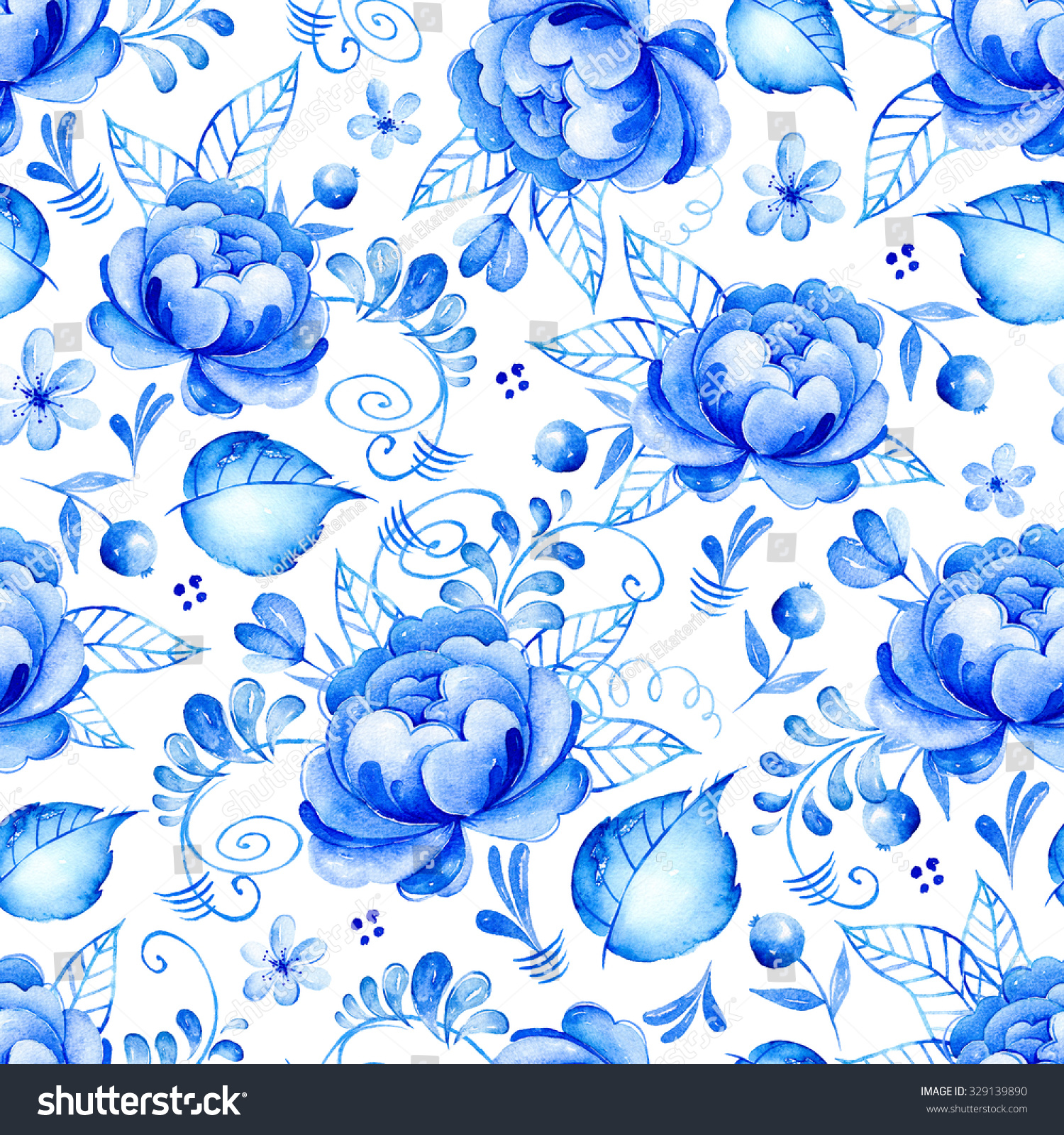Artistic floral element abstract gzhel folk art blue flowers stock - Abstract Watercolor Floral Seamless Pattern With Folk Art Flowers Blue White Ornament Background With