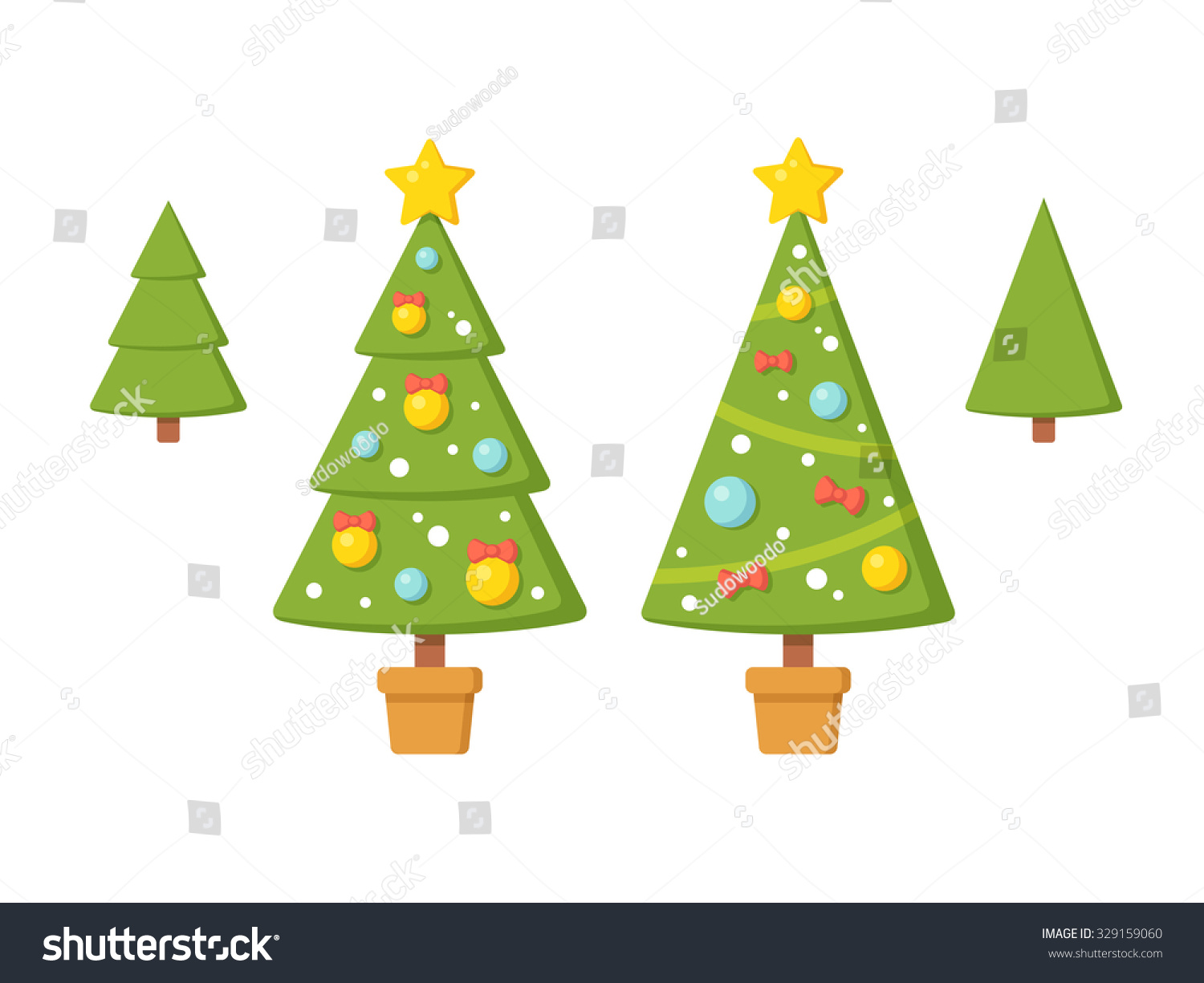 Set Christmas Trees Without Ornaments Modern Stock Vector  - Decorate Christmas Tree Without Ornaments