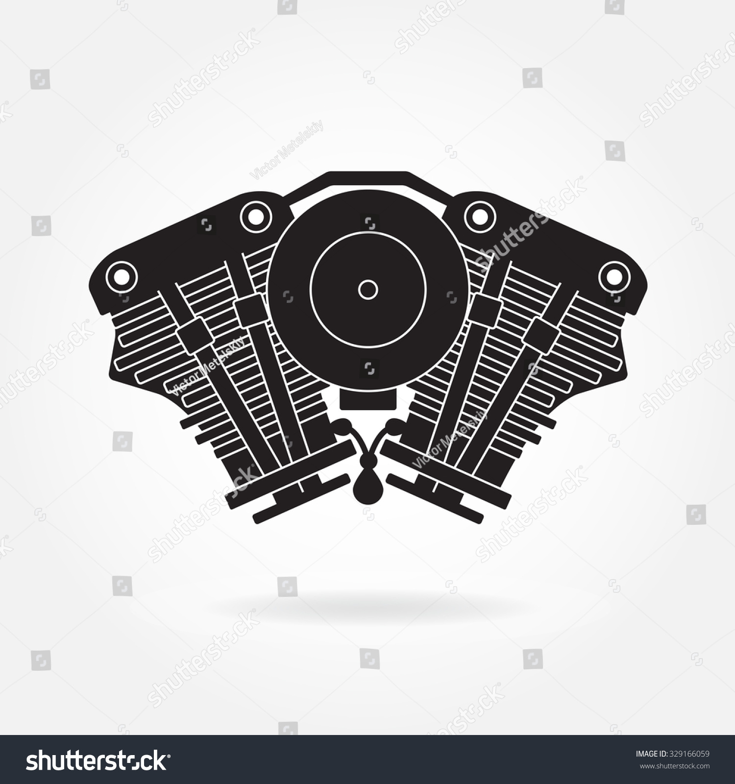 Engine Symbol Car Motorcycle Motor Silhouette Stock Vector 329166059 ...