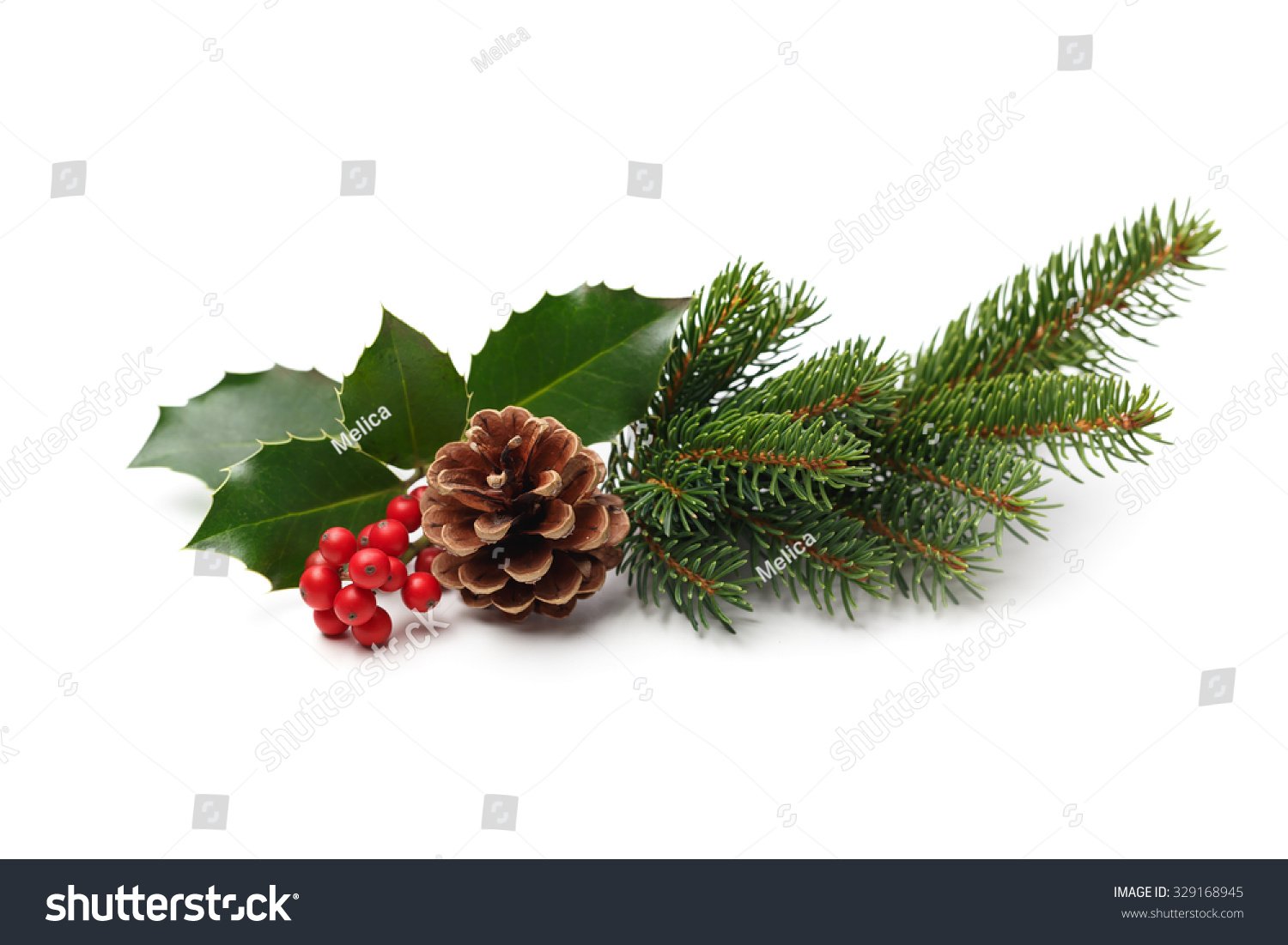 Christmas Tree With Berries And Pine Cones