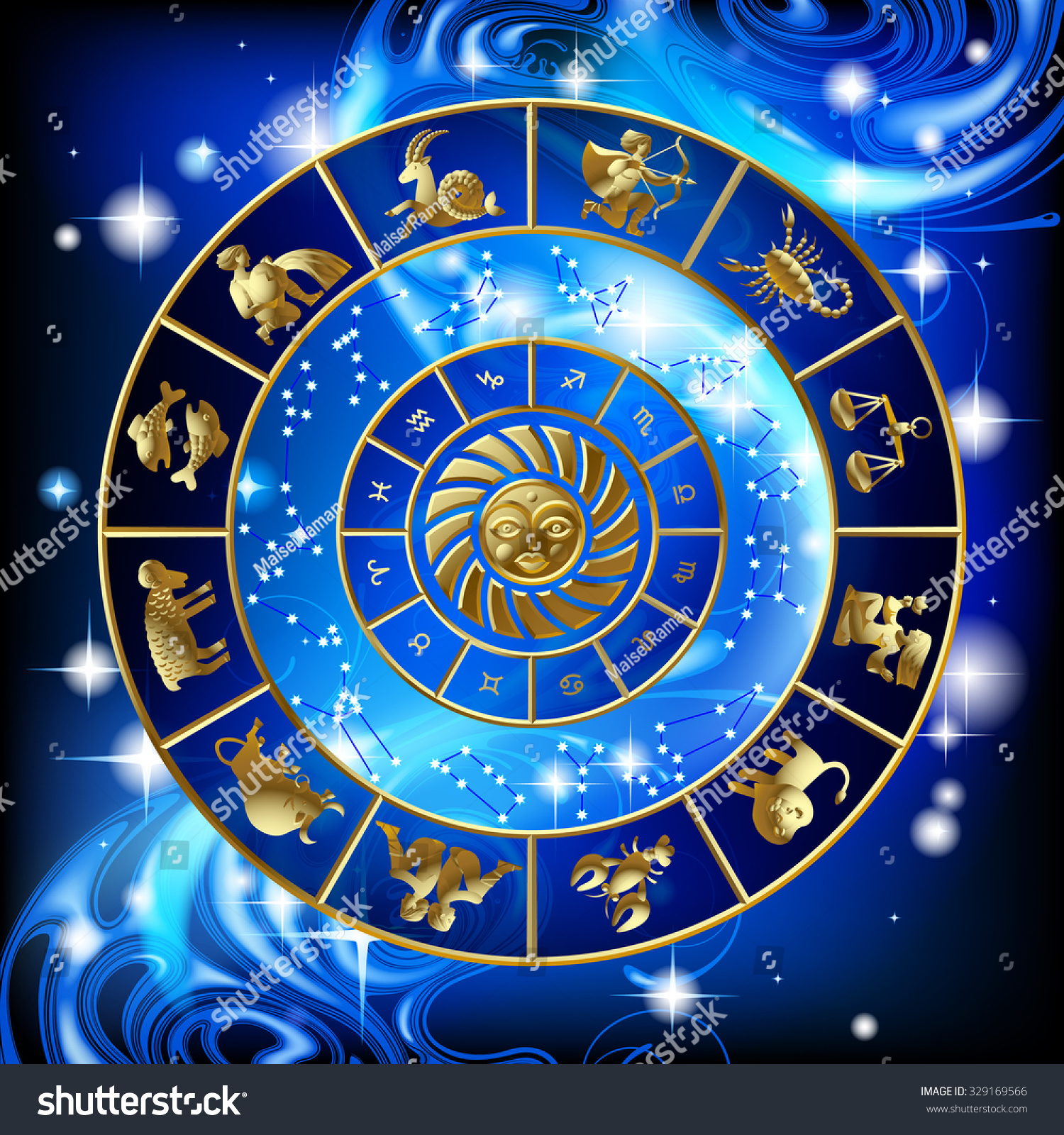 Calendar Design Zodiac : Gold zodiac circle signs constellations calendar stock