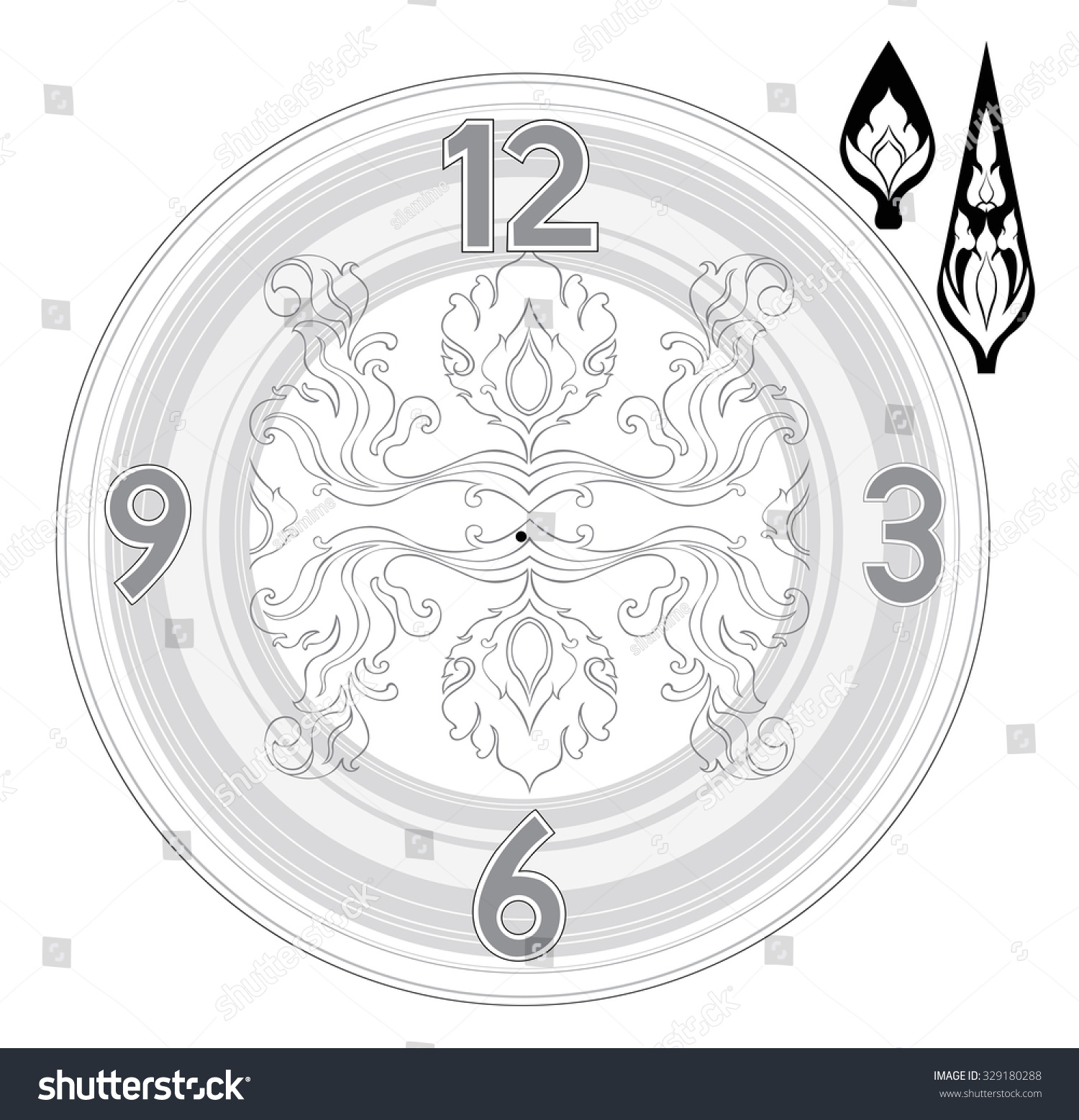 Product Design Line Art : Thai art line clock product design stock vector