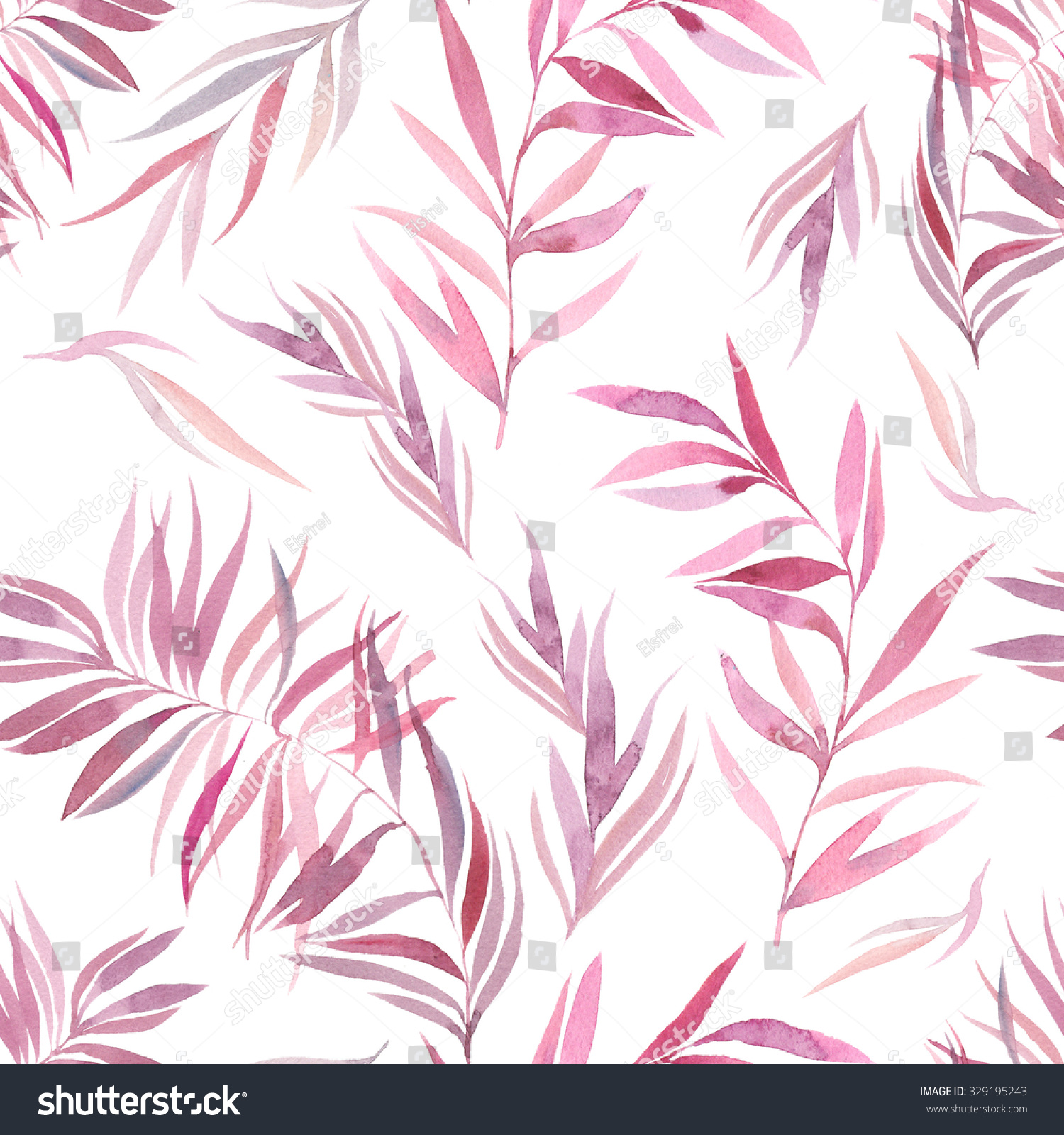 Watercolor pink purple palm tree branches stock - White painted tree branches ...